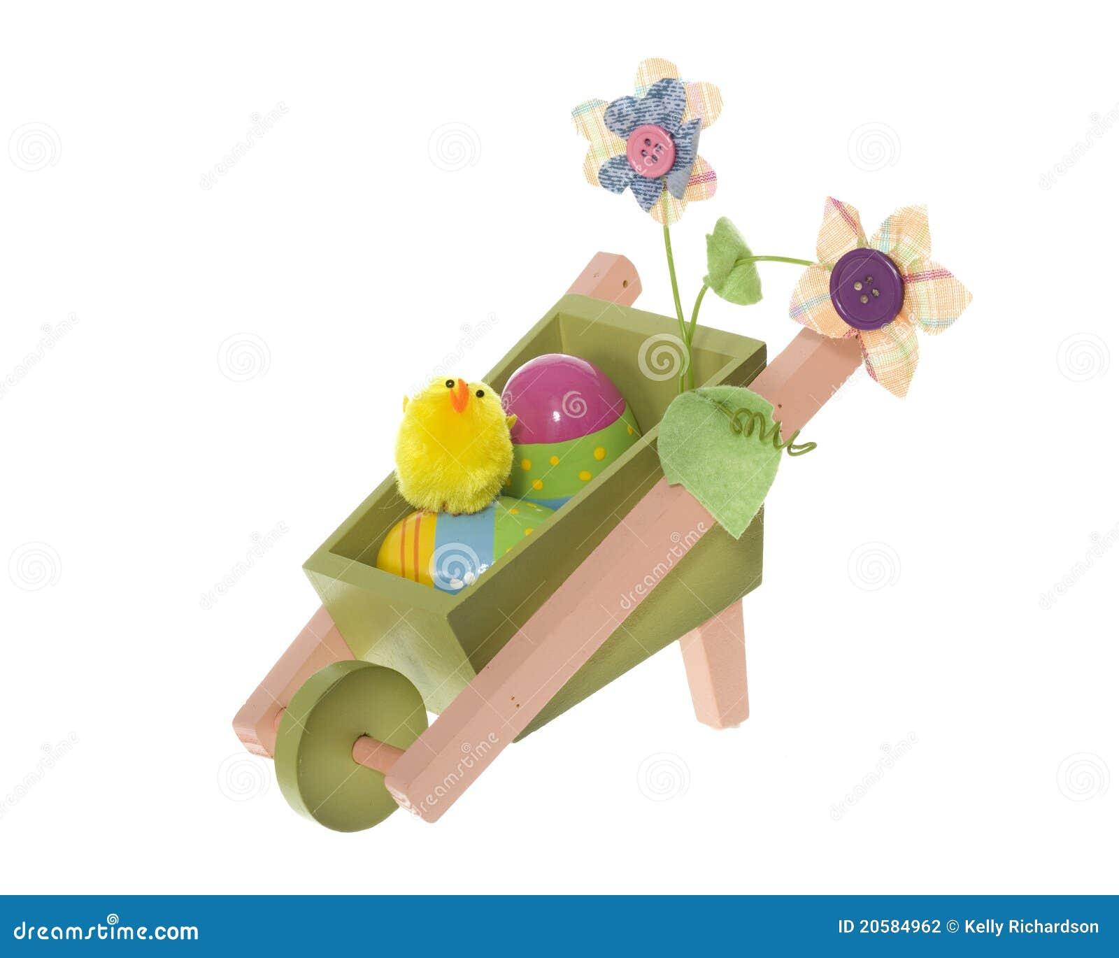 De kruiwagen van het wiel van de decoratie van pasen met eieren en kuiken stock fotografie - Decoratie van de kamers van de meiden ...