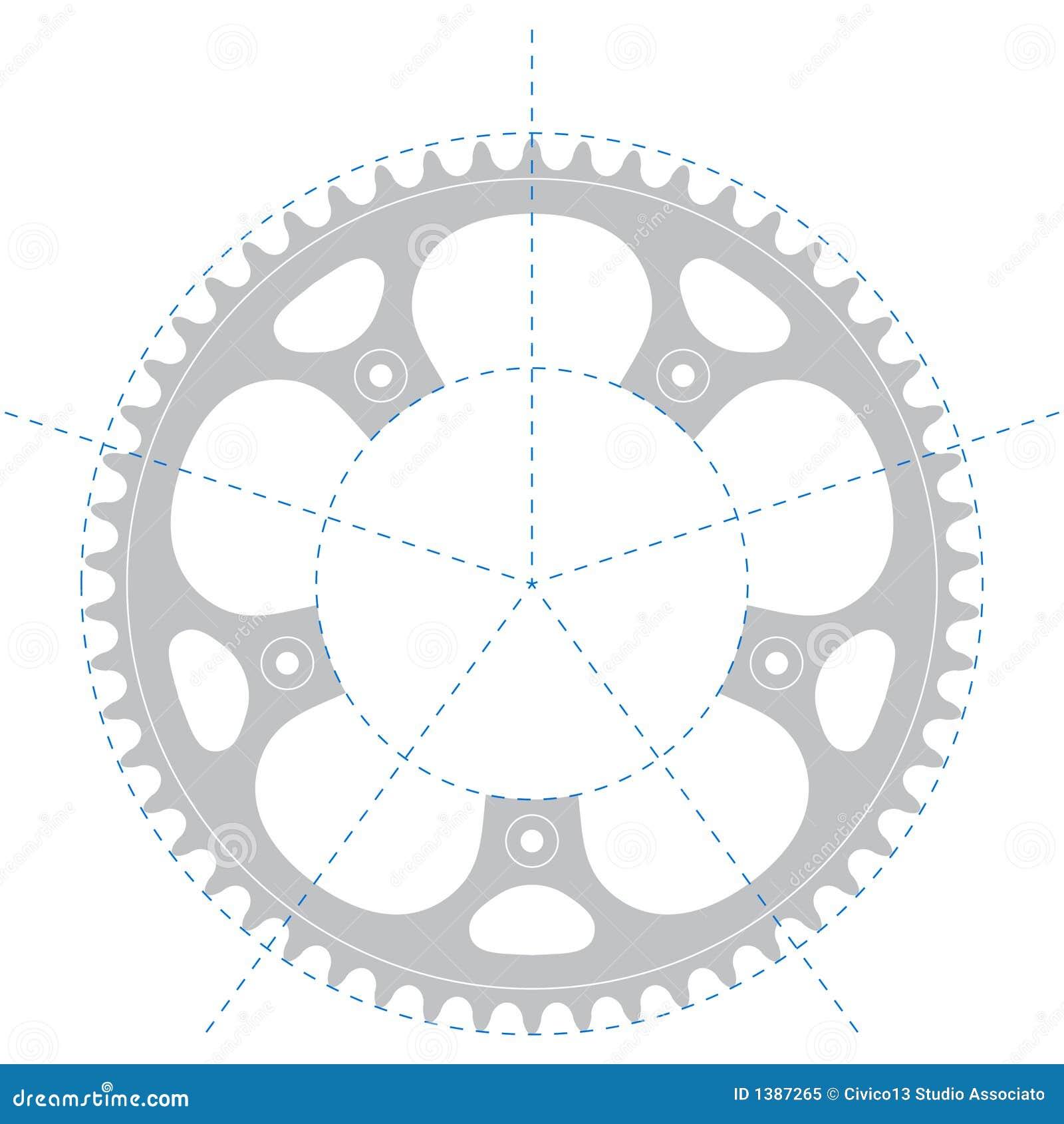 De krukas van de fiets - Vectortekening