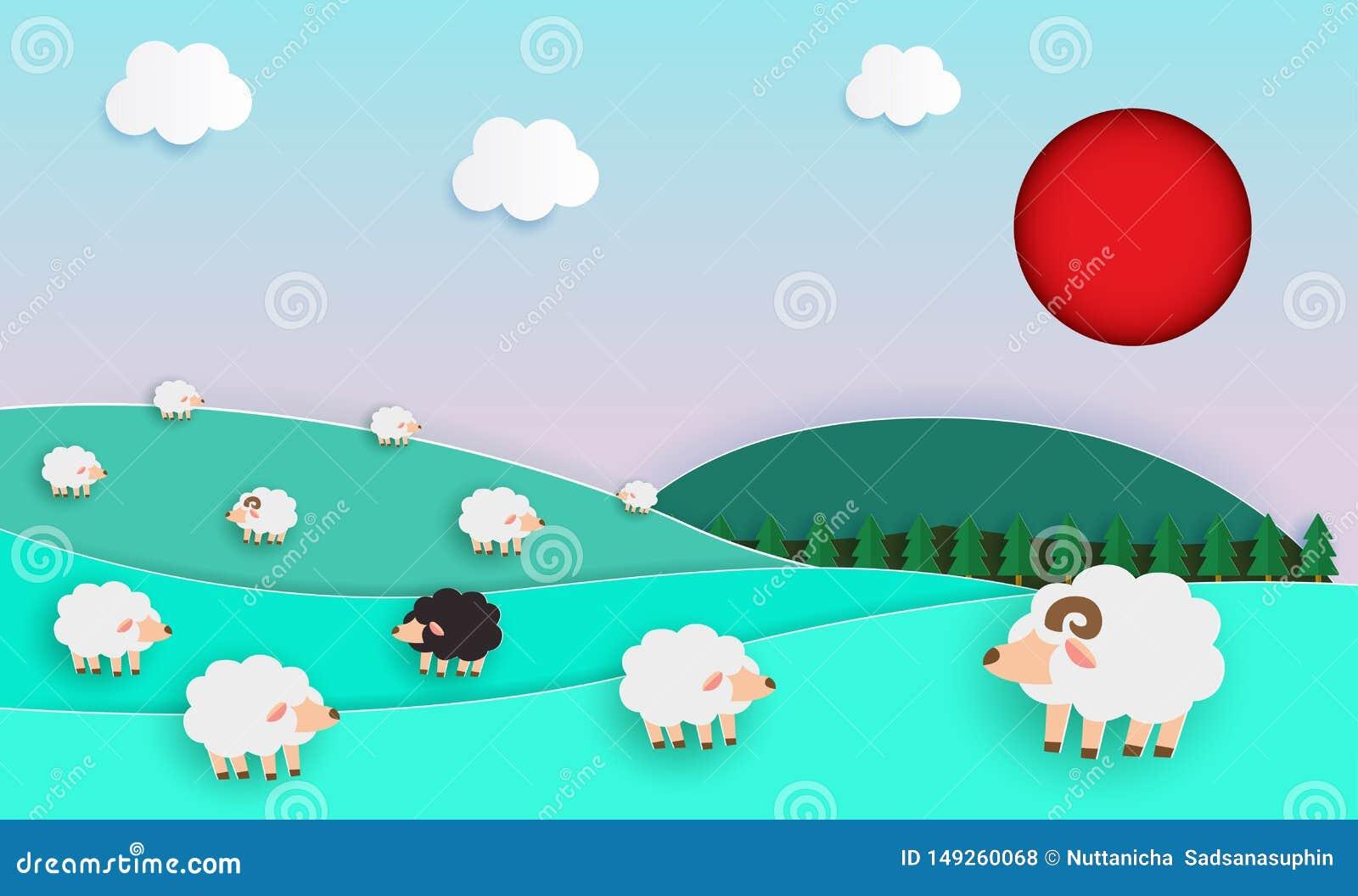 De kudde van schapen op groen weiland, Document sneed Stijl, elementen van de landbouw van landschappen met schapen en natuurlijk