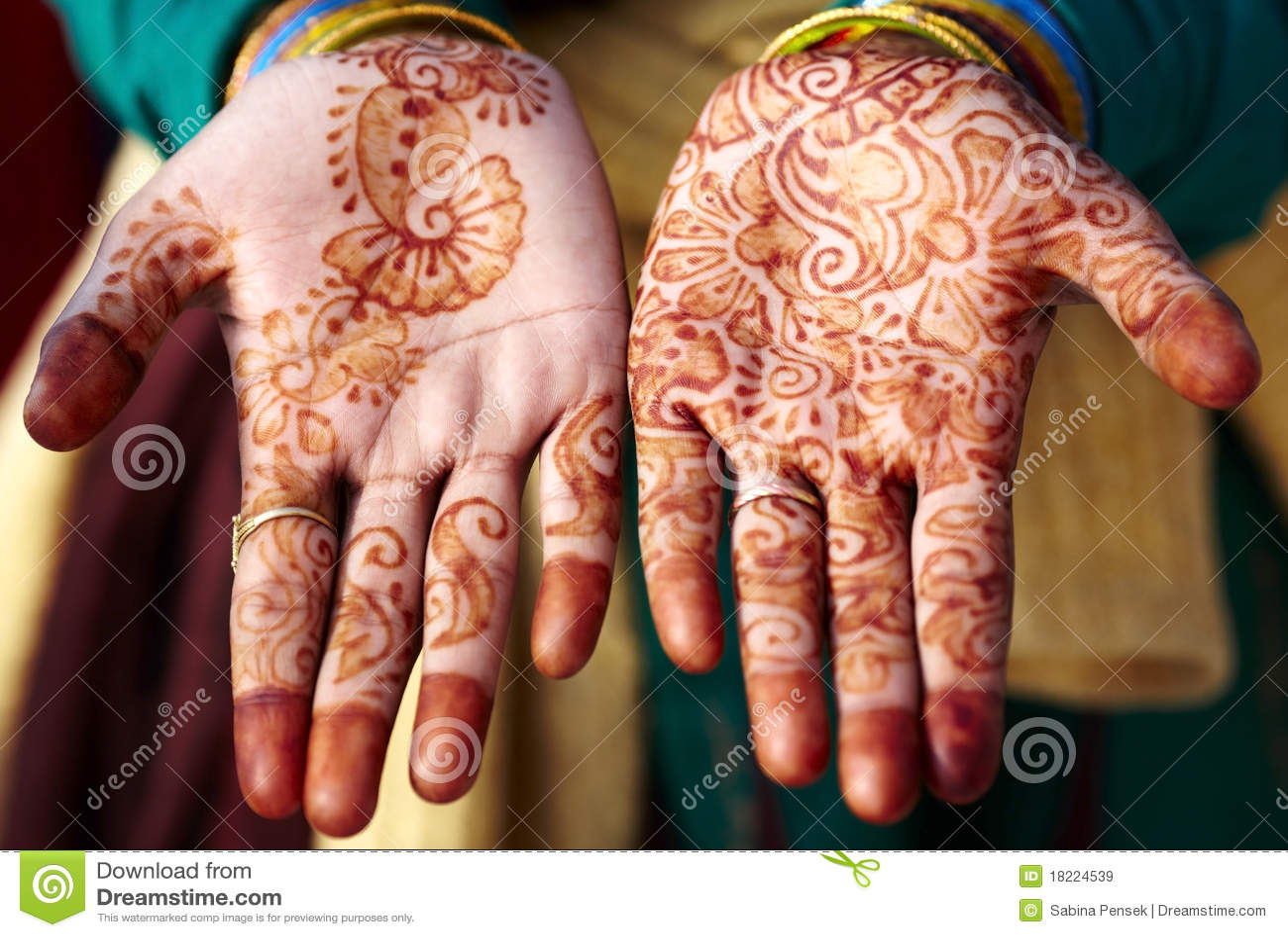 De kunst van de de tatoegeringshand van de henna in India