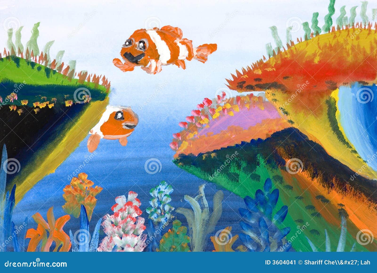 Super De Kunst Van Kinderen - Het Mariene Leven Stock Illustratie #NT83