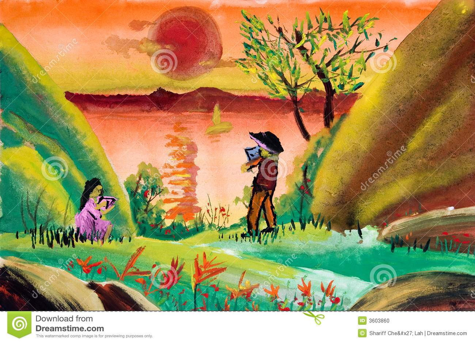 Top De Kunst Van Kinderen - Platteland Stock Illustratie - Illustratie @RX46