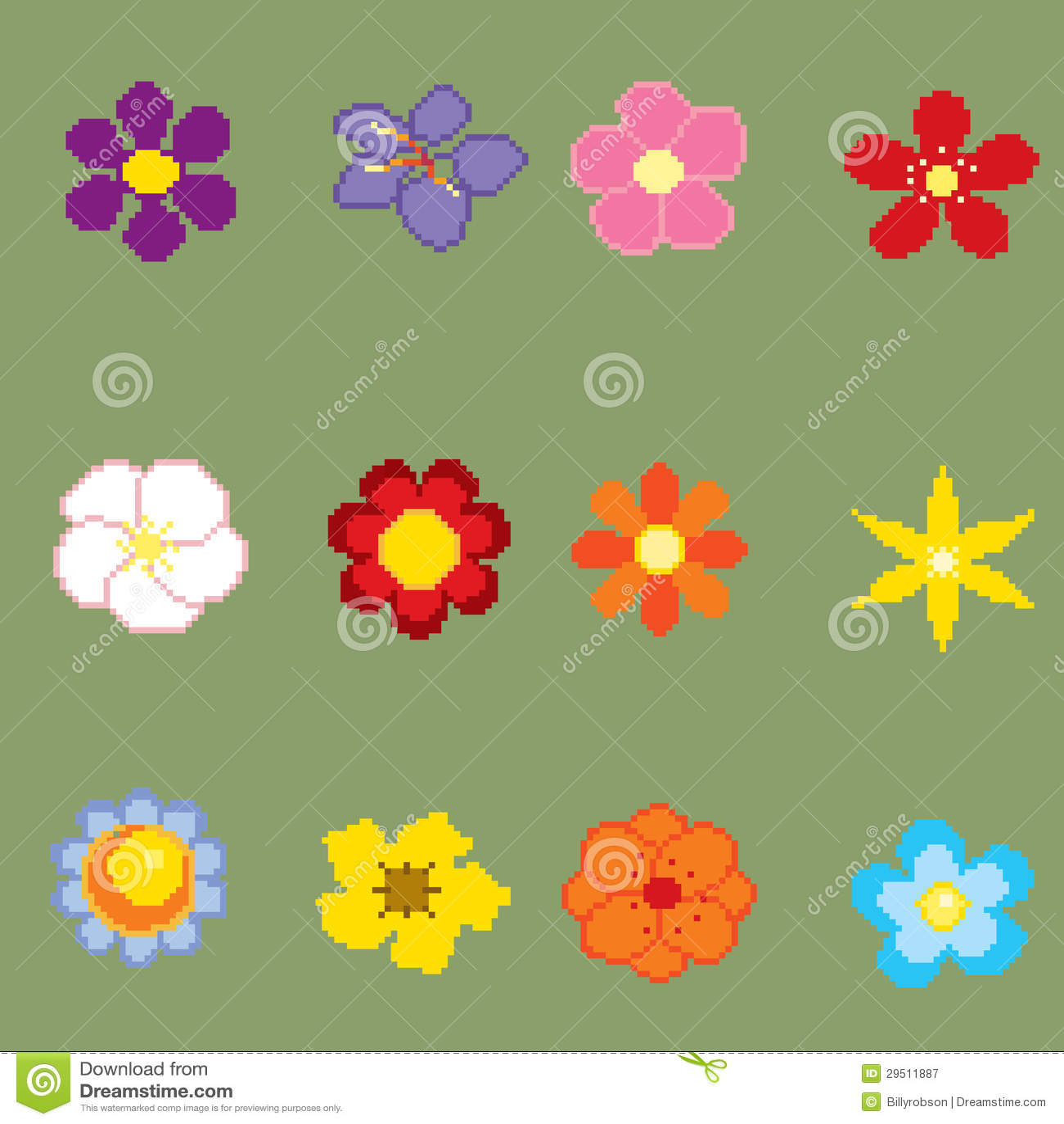 De kunstbloemen van het pixel