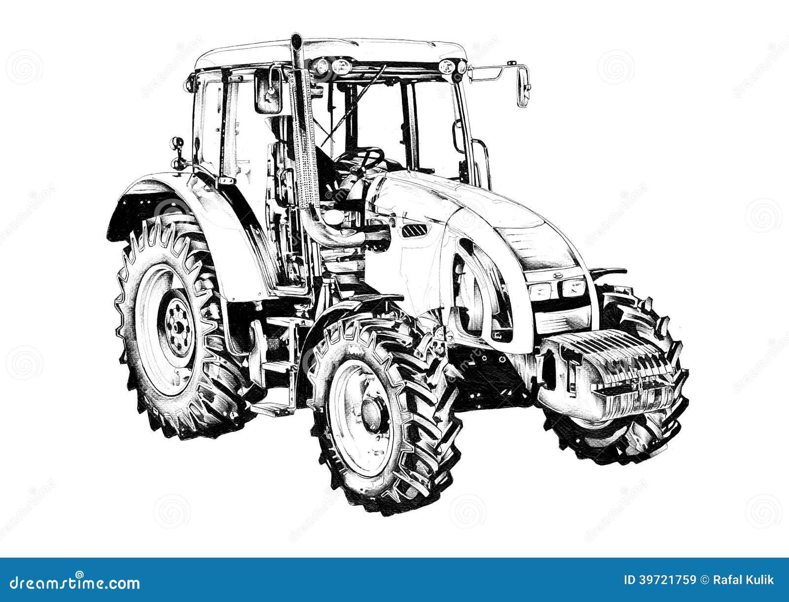 de kunsttekening de landbouwtrekkerillustratie stock