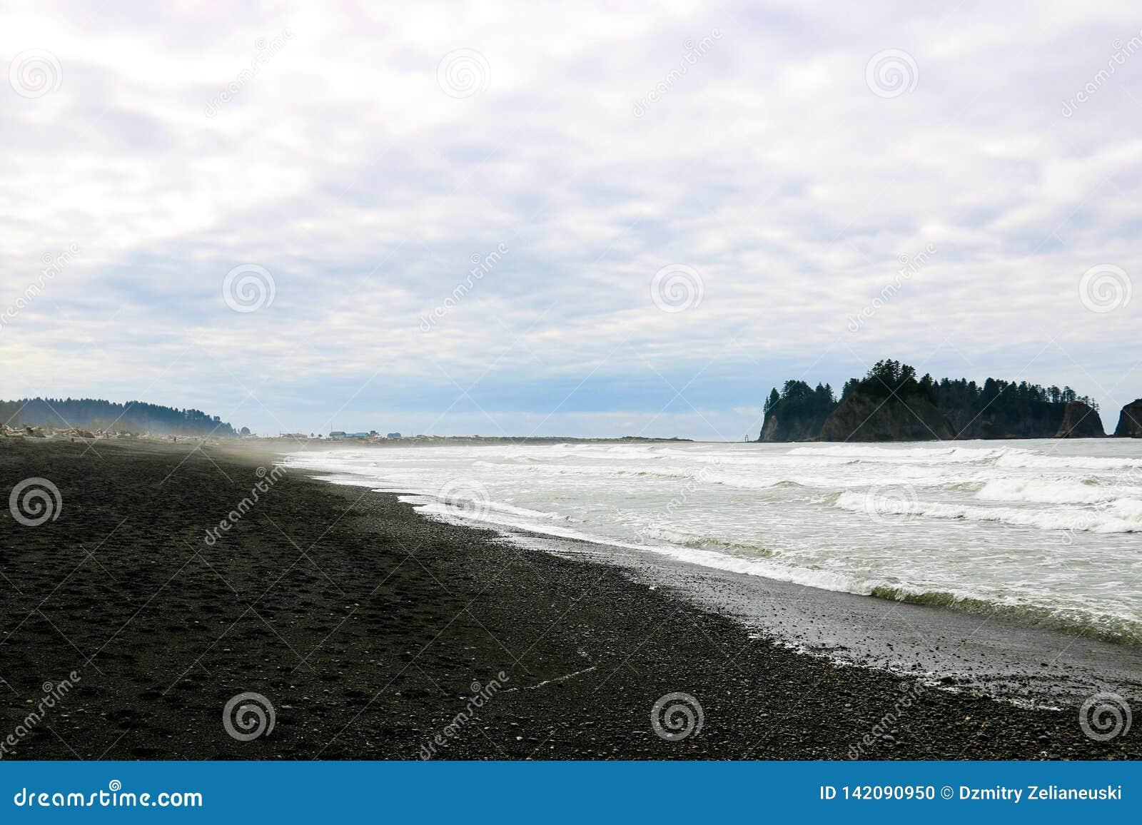 De kust van de Vreedzame Oceaan in de vroege mistige ochtend op de achtergrond van rotsen