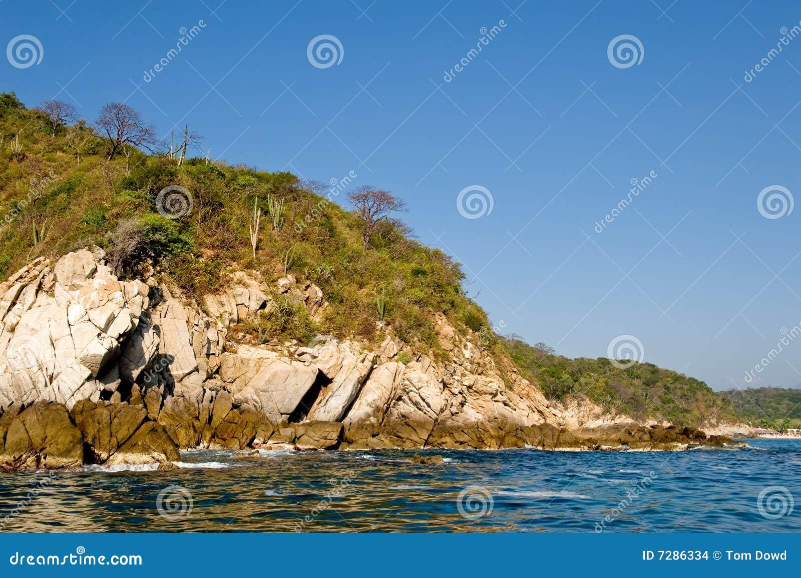 De kustlijn Mexico van Huatulco