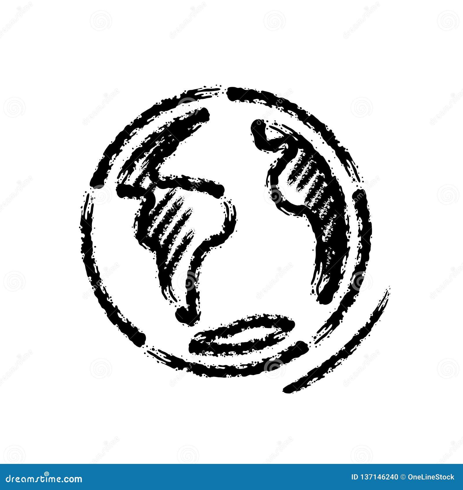 De kwaststreek overhandigt getrokken vectorpictogram van aarde