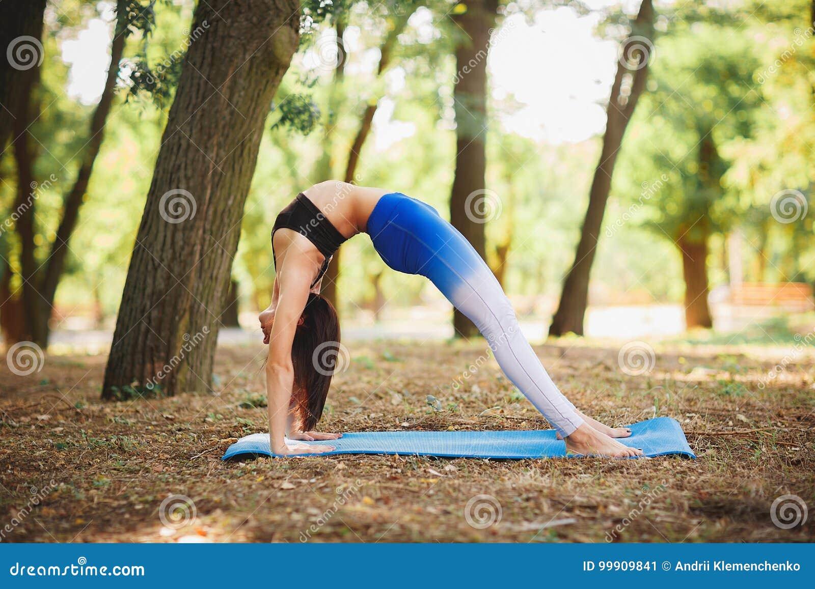 a86807d7857bb De la yoga mujer deportiva del ajuste al aire libre que hace en el bosque  otoño