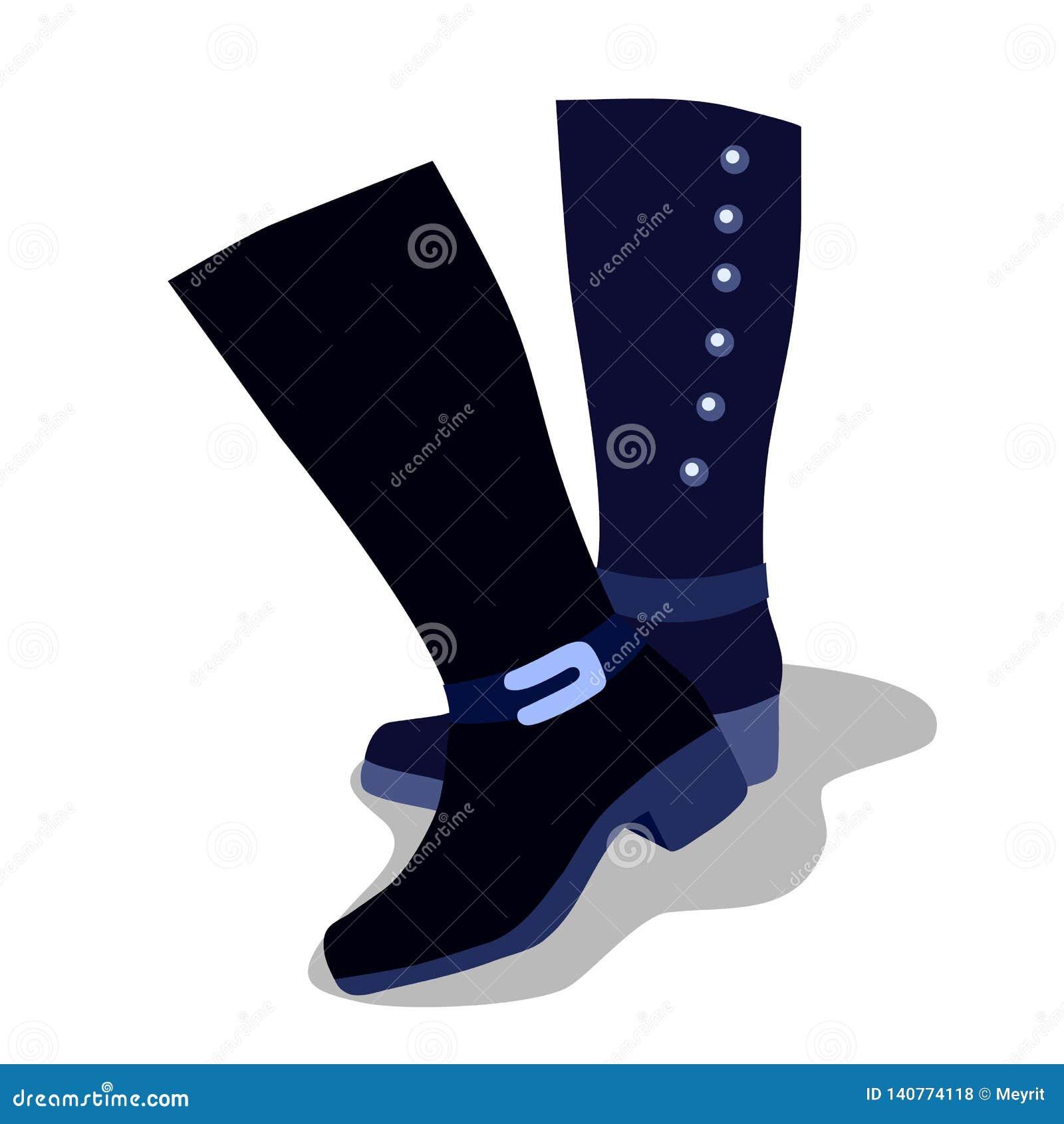 De laarzen van hoge blauwe die vrouwen met hielen, op een witte achtergrond worden geïsoleerd Vector illustratie