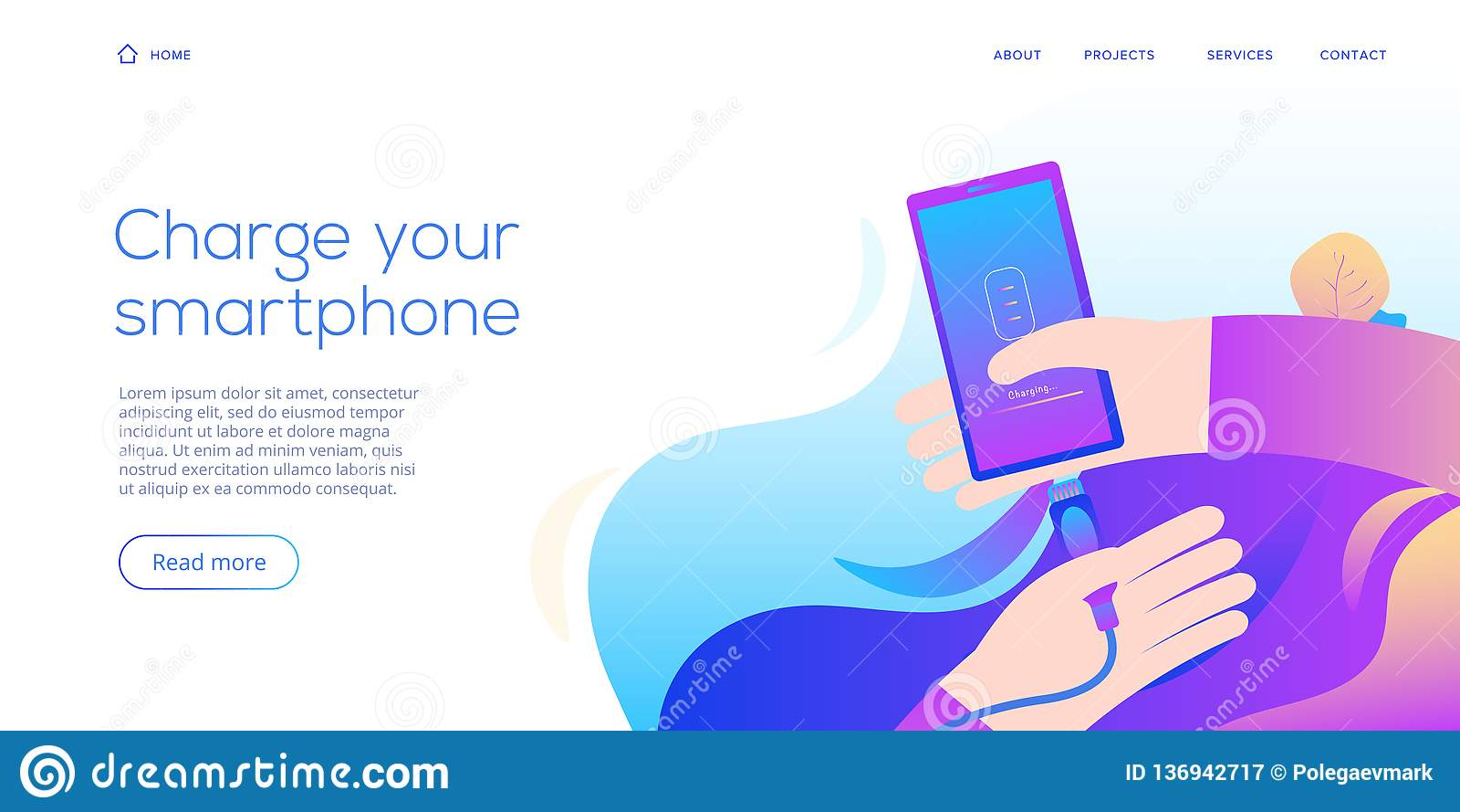 De lader van kabelsmartphone in vlakke ontwerpillustratie Abstracte vectorachtergrond voor mobiel koord het laden apparaat Websit