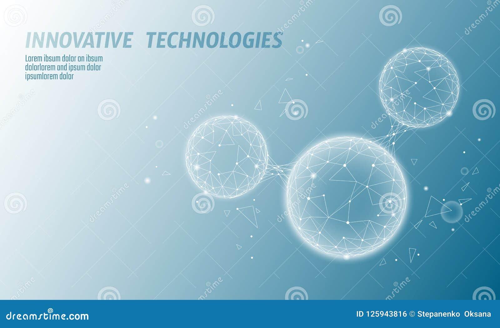 De lage poly 3D structuur van de watermolecule geeft concept terug Veelhoekig ecologisch de technologieart. van het wetenschapson
