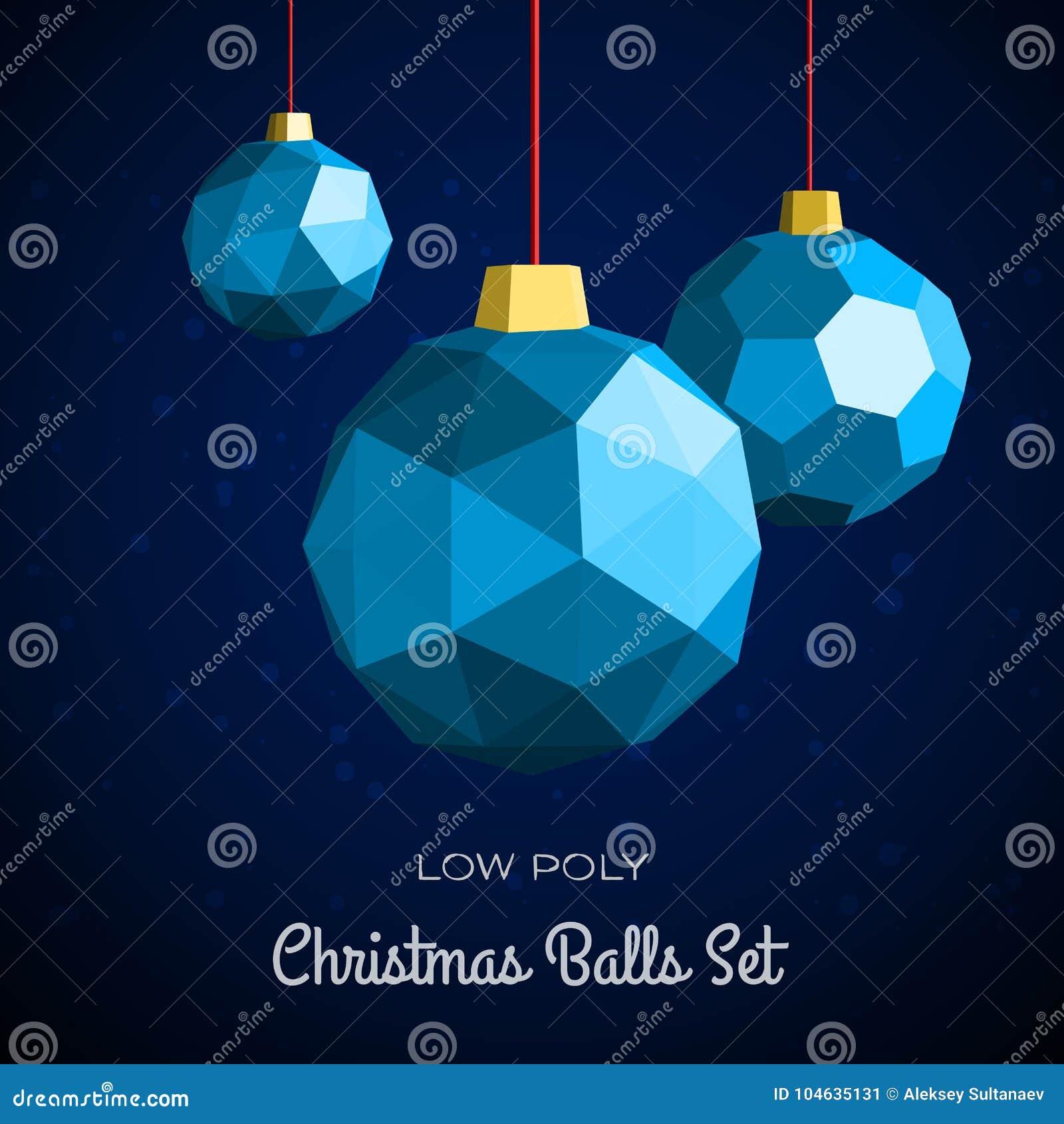 Download De Lage Poly Vrolijke Vectorillustratie Van Kerstmisballen Vector Illustratie - Illustratie bestaande uit winter, veelhoekig: 104635131