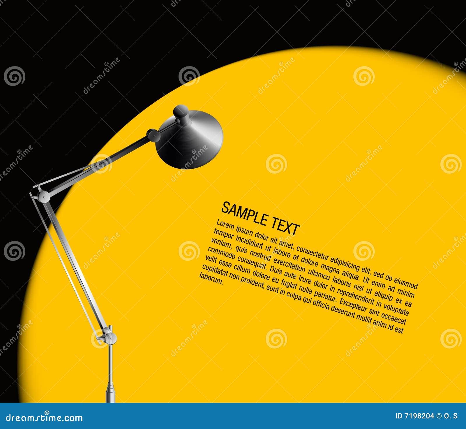De lamp van het bureau met geel licht