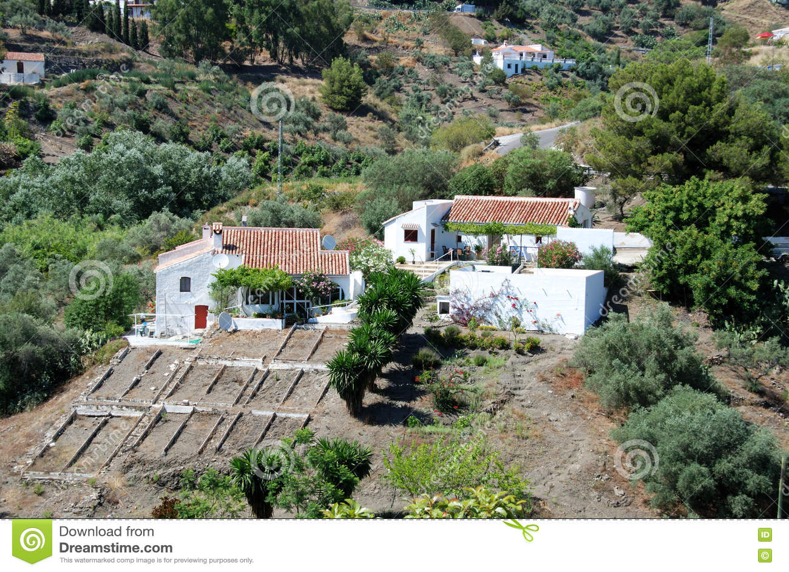 De landbouwbedrijven van het land in de bergen, Andalusia