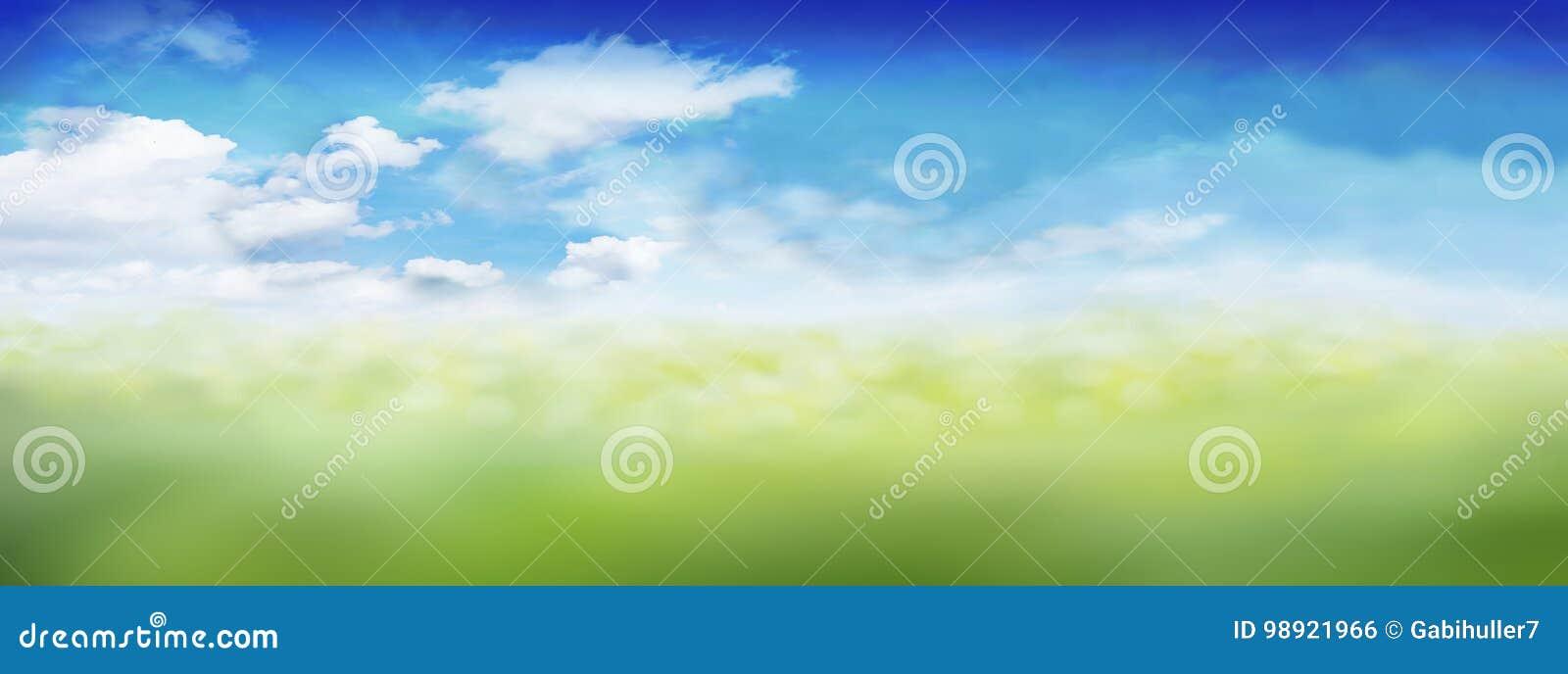 De landschapshemel betrekt gras/weide - spring de Zomer Pasen - Bokeh-effect op, vaag - Panorama achtergrondbanner - kopieer ruim