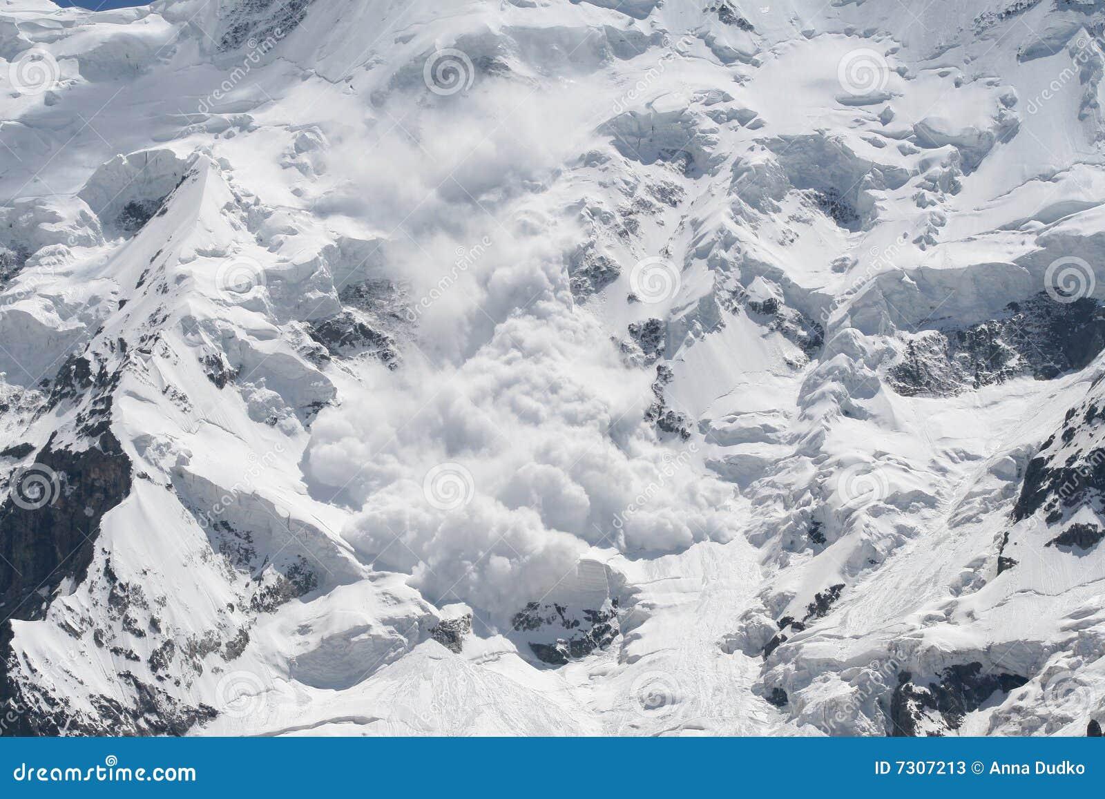 De lawine van de sneeuw