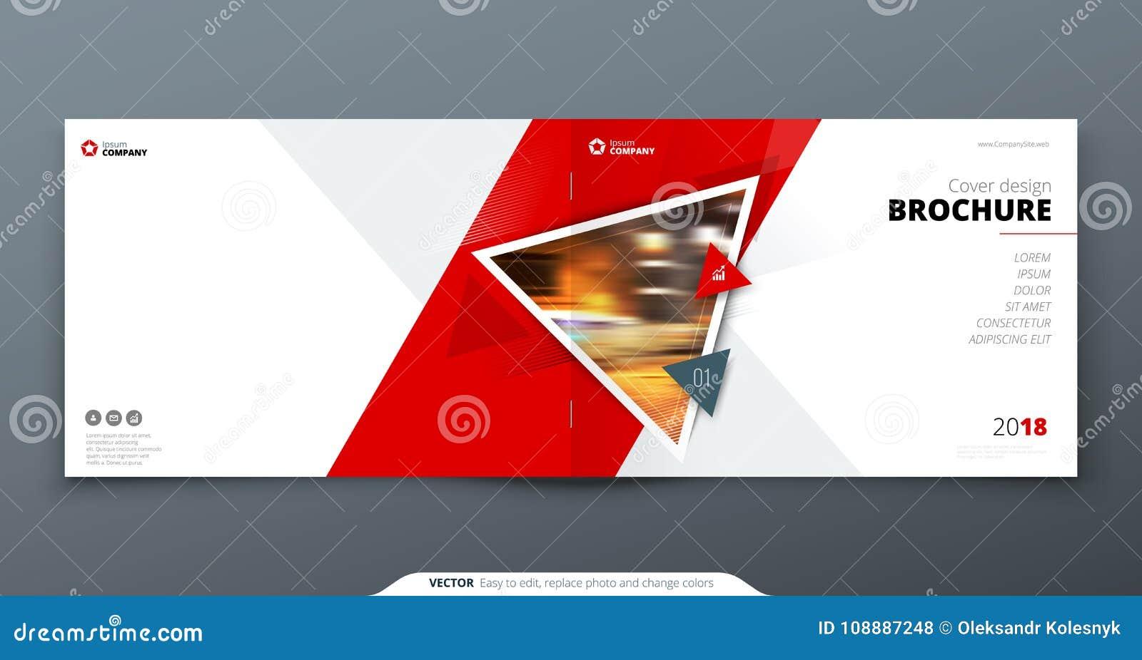 De lay-out van het brochuremalplaatje, het jaarverslag van het dekkingsontwerp, tijdschrift, vlieger of boekje in A4 met driehoek