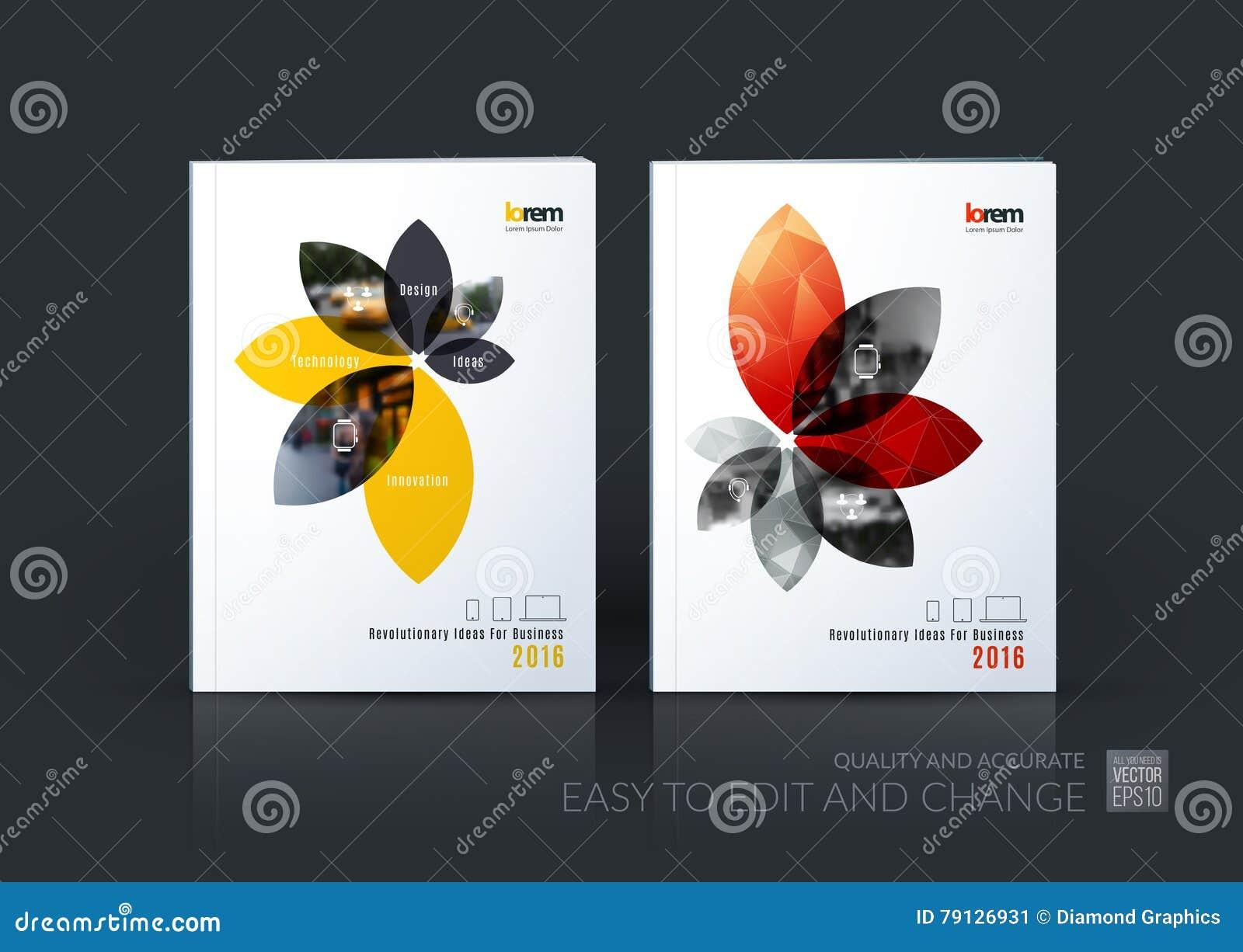 De lay-outinzameling van het brochuremalplaatje, het jaarverslag van het dekkingsontwerp,