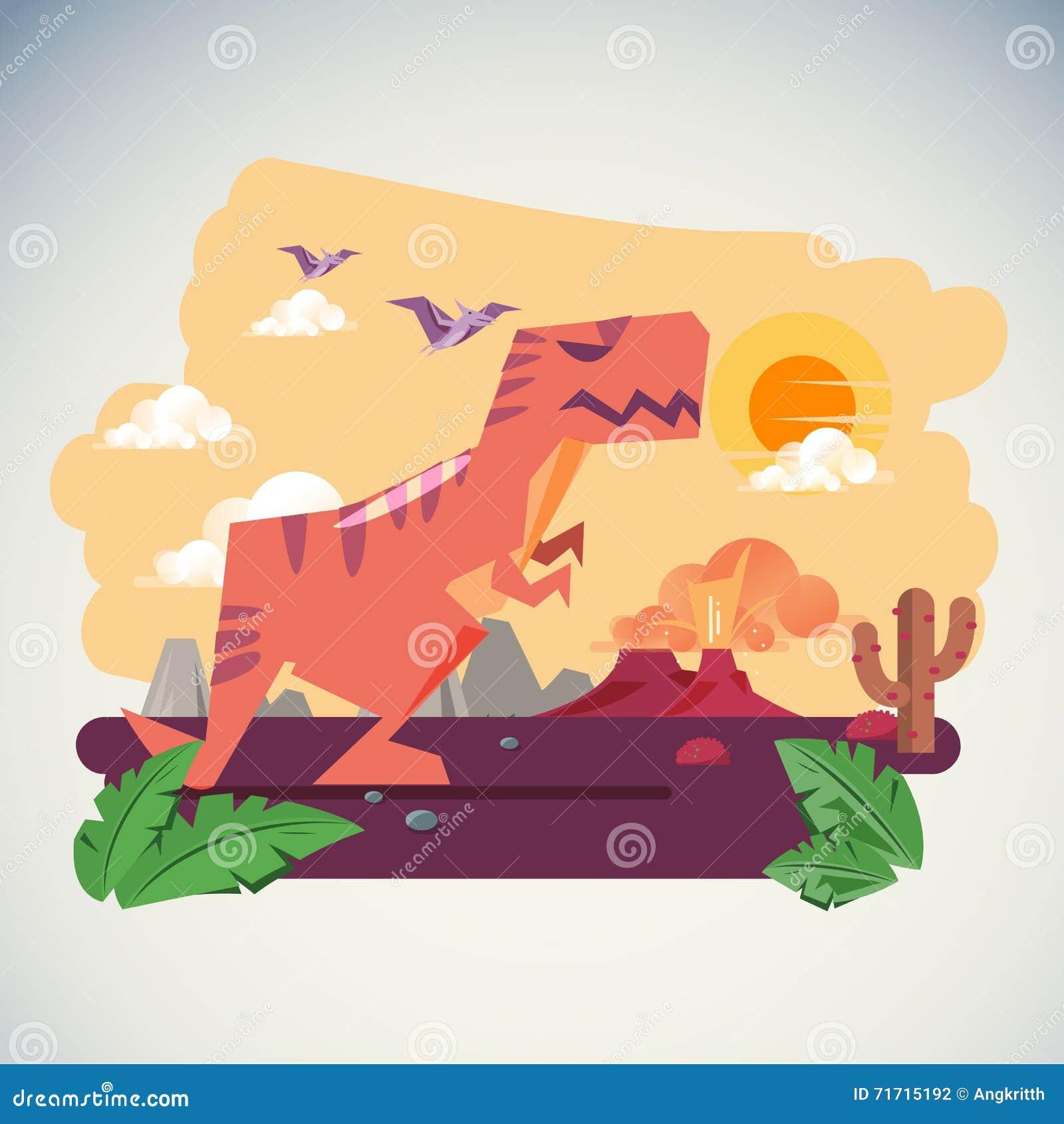 De Leeftijd van Dinosaurussen met Volcano Eruption-achtergrond - illustartion