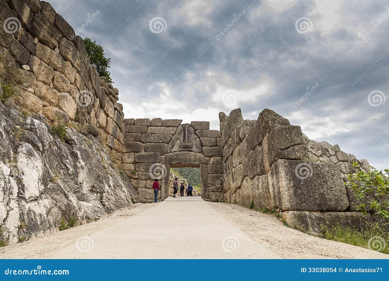 De leeuwpoort in Mycenae, Griekenland