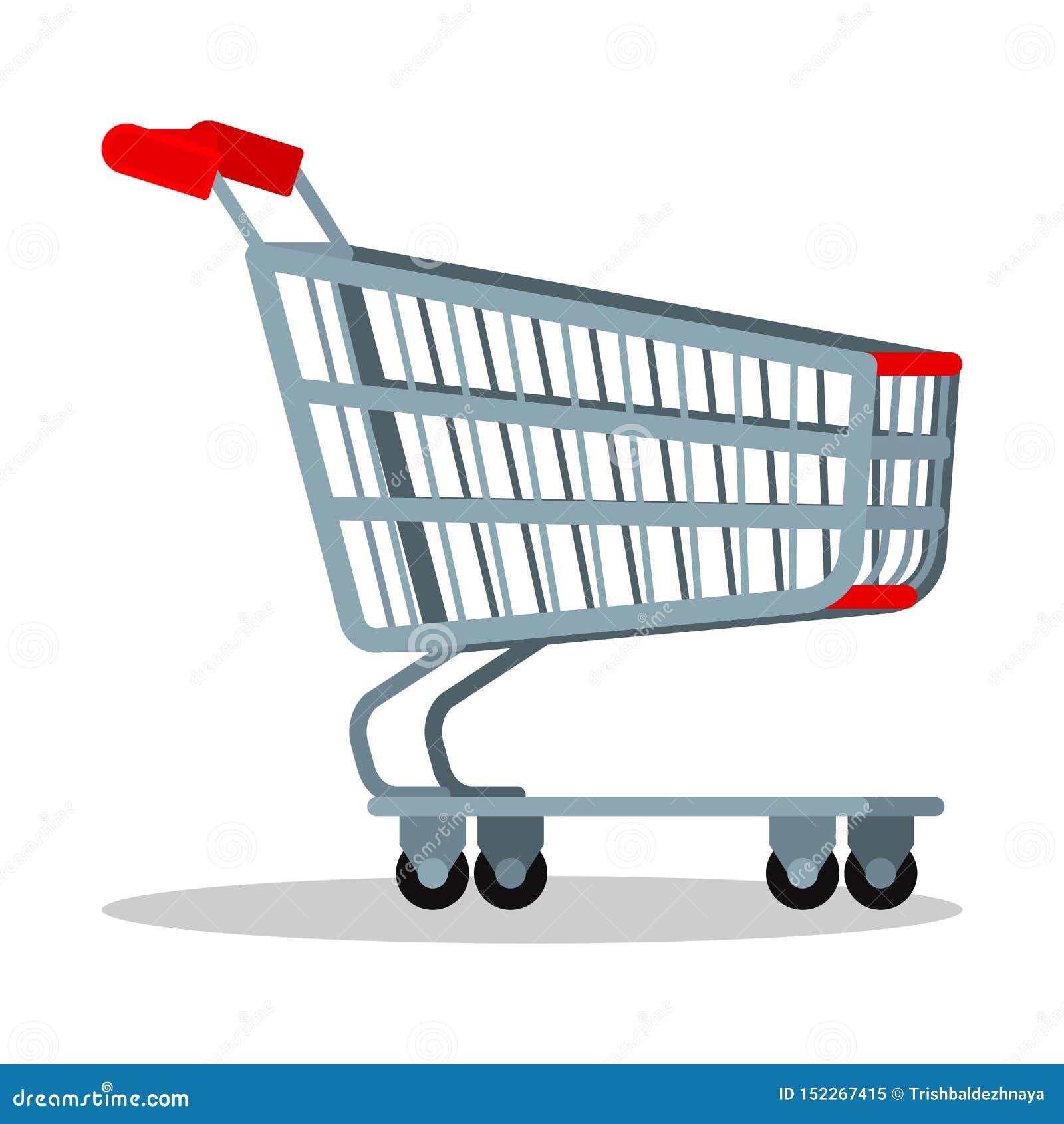 De lege kar van het het metaalkarretje van het supermarktchroom met wielen voor goederen die op witte achtergrond, Vectorbeeldver