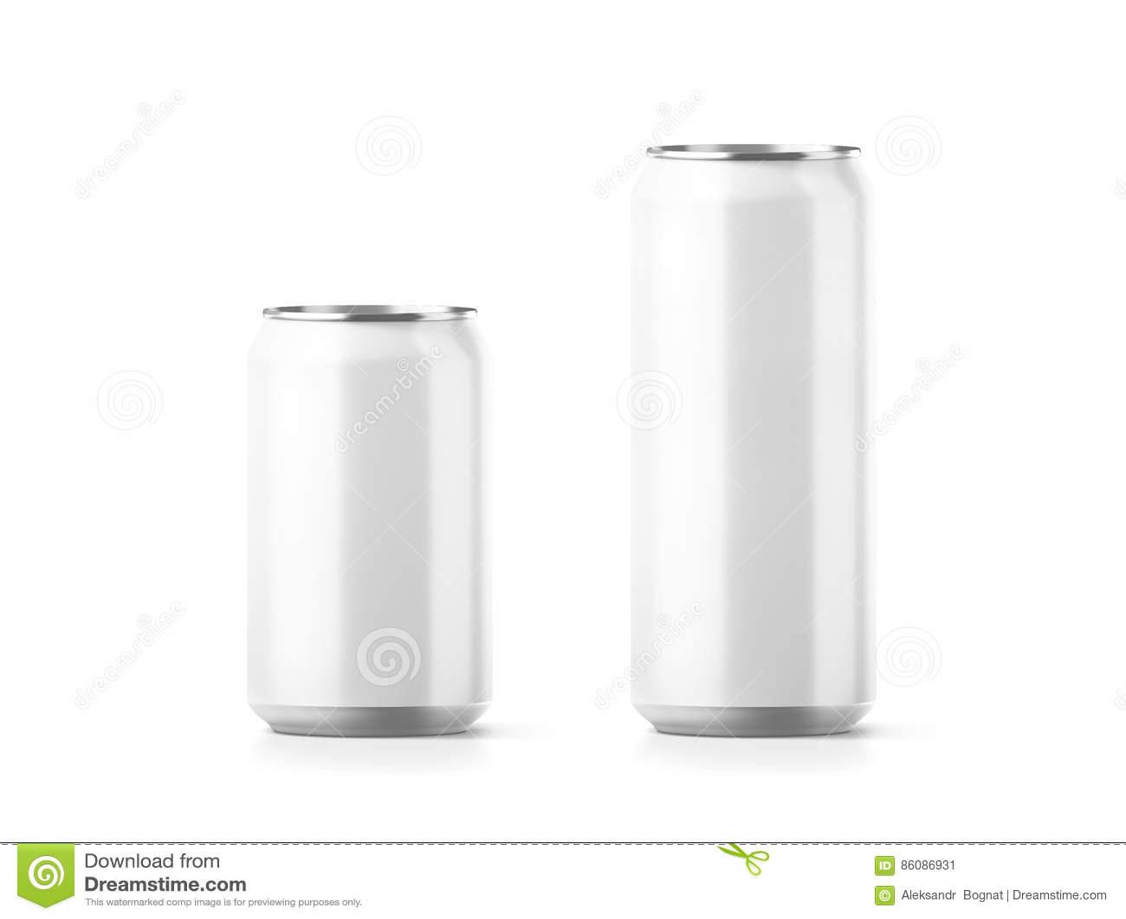 De lege kleine en grote aluminiumsoda kan model