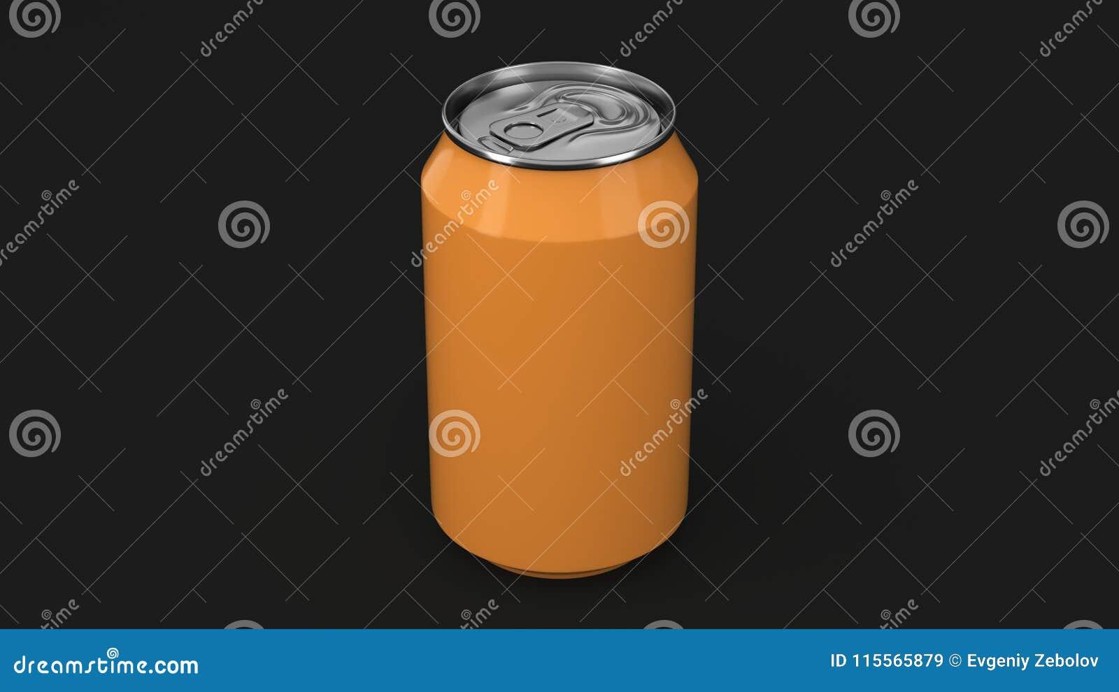 De lege kleine oranje aluminiumsoda kan model op zwarte achtergrond