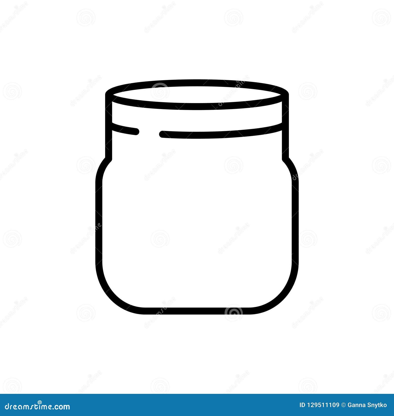 De lege kruik van de glasmetselaar De stijl van de lijnkunst Vector illustratie Het koken concept