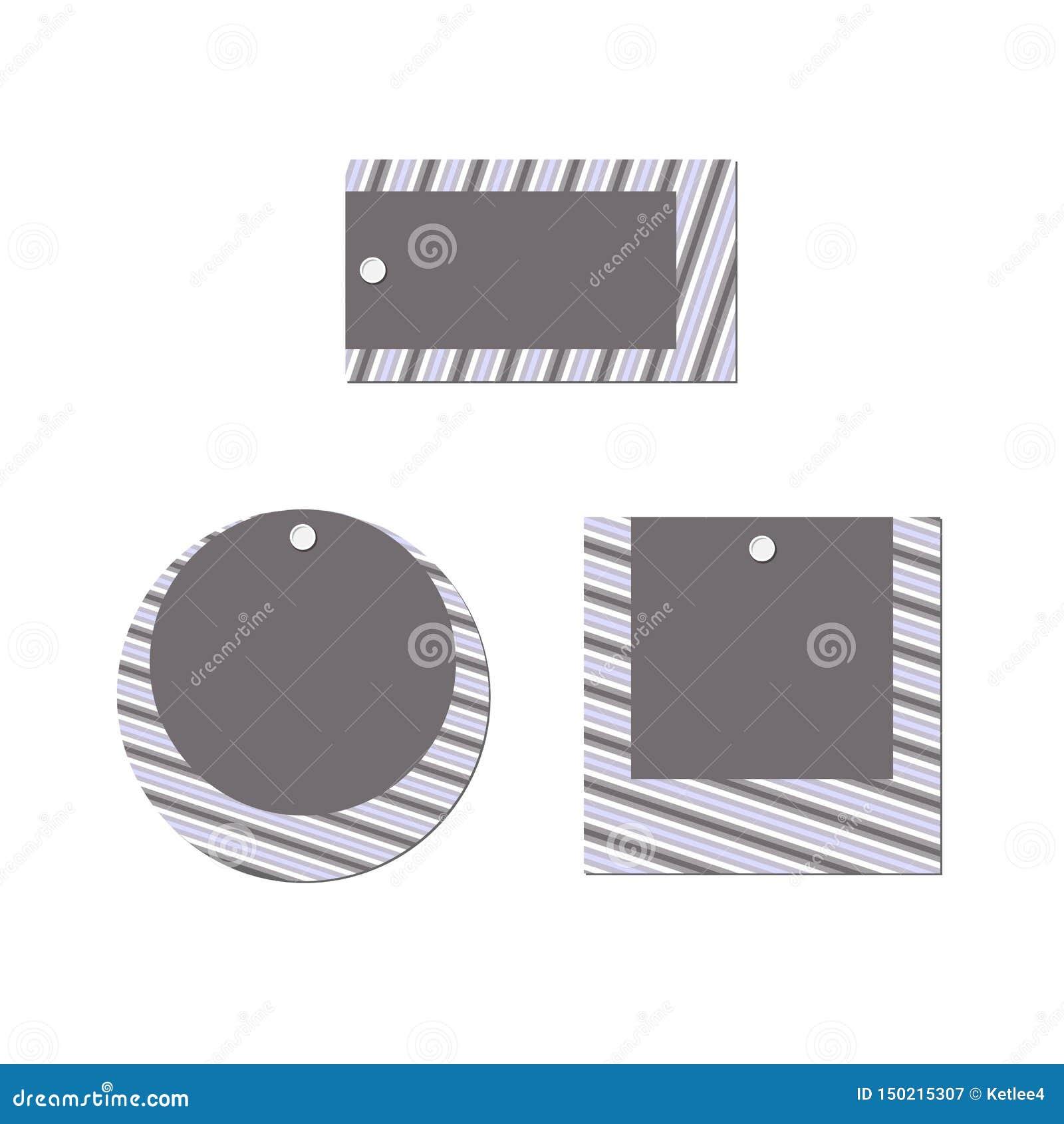 De lege Vastgestelde Rechthoekige ronde vierkante banner van de prijskaartjelay-out van strepenlijnen op een wit achtergrond Mode