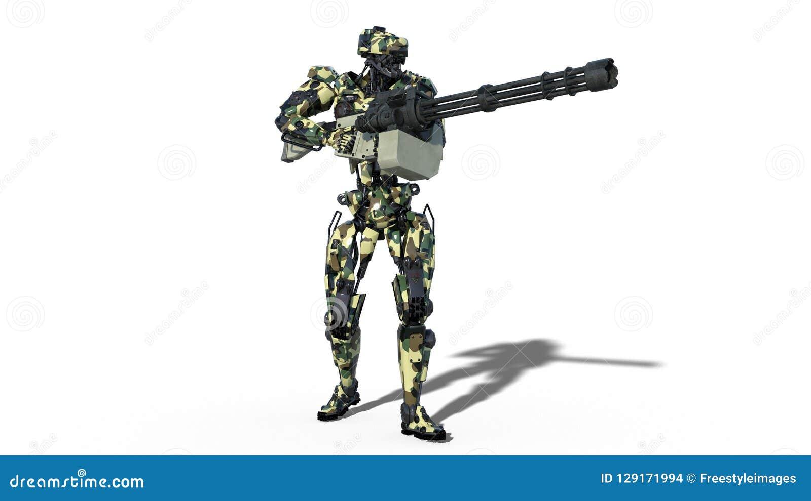 De legerrobot, strijdkrachten cyborg, militaire androïde militair die machinegeweer op witte 3D achtergrond schieten, geeft terug