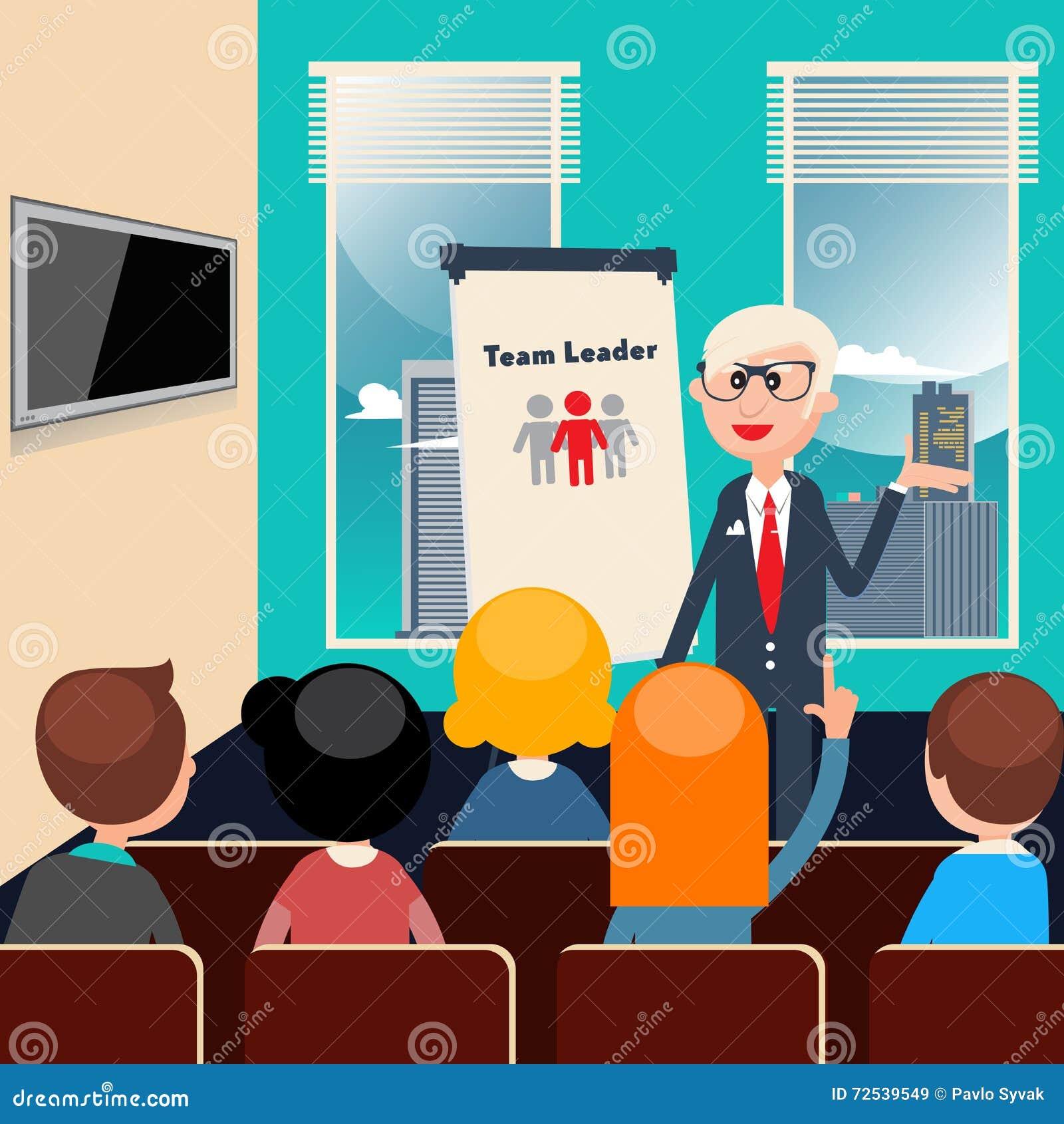 De leider van het team Bedrijfs presentatie Commerciële vergadering