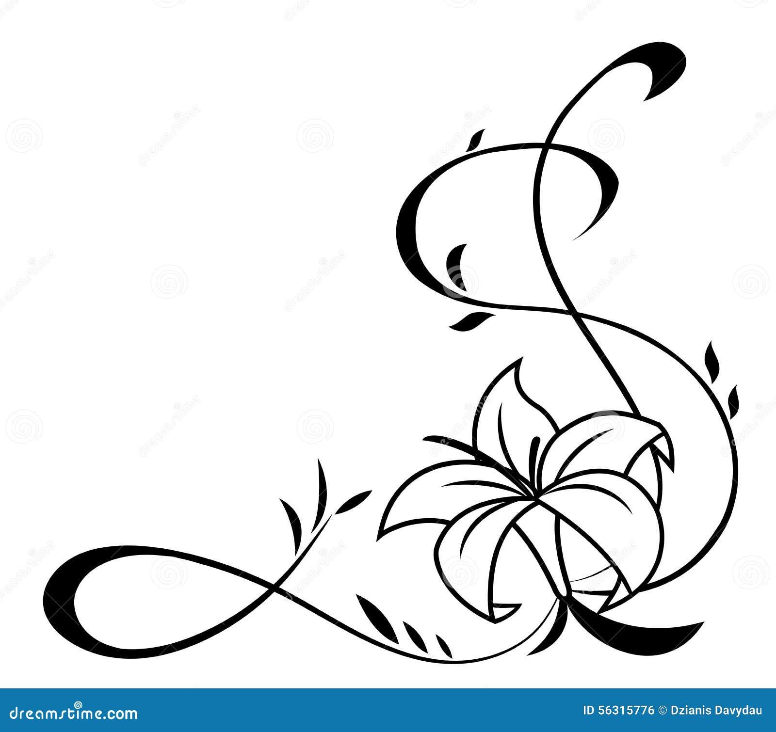 Black Flower 21st Century Op Art Set: De Lelie Bloeit Zwarte Silhouetillustratie Vector