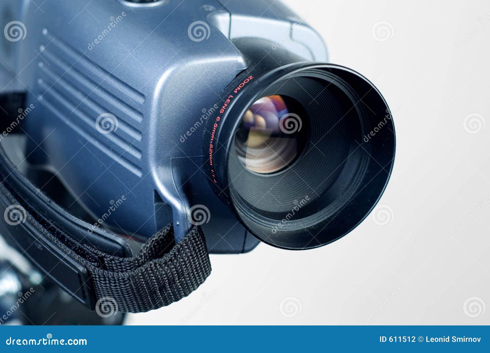 De lens die van de videocamera aan recht 1 richt