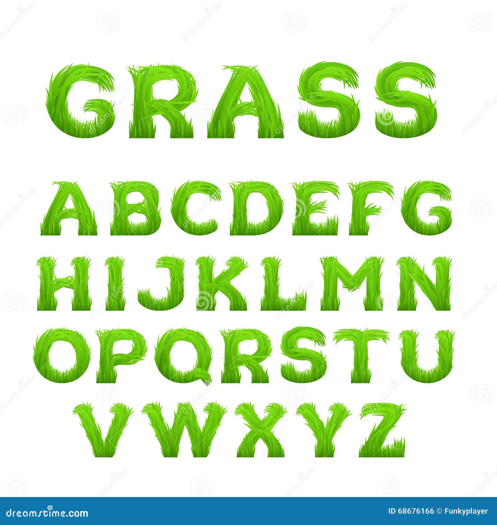 De lente, de zomeralfabet van gras wordt gemaakt dat De vroege doopvont van het de lente groene gras