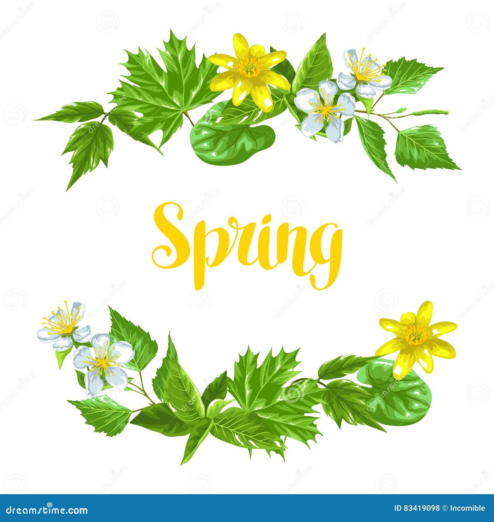 De lente groene bladeren en bloemen Kaart met installaties, takje, knoppen