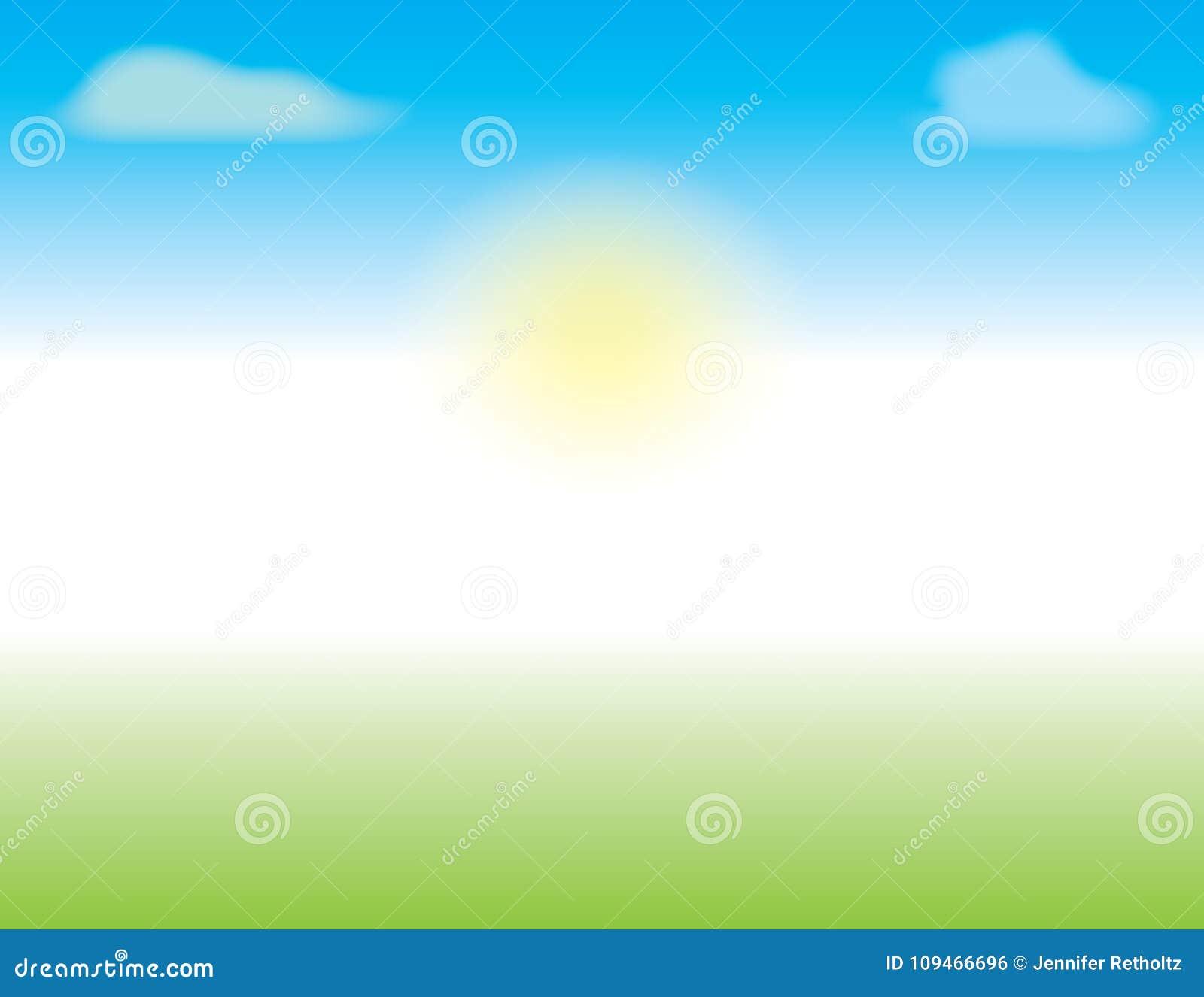 De lente of de Zomerscène met blauwe hemel en groen gras