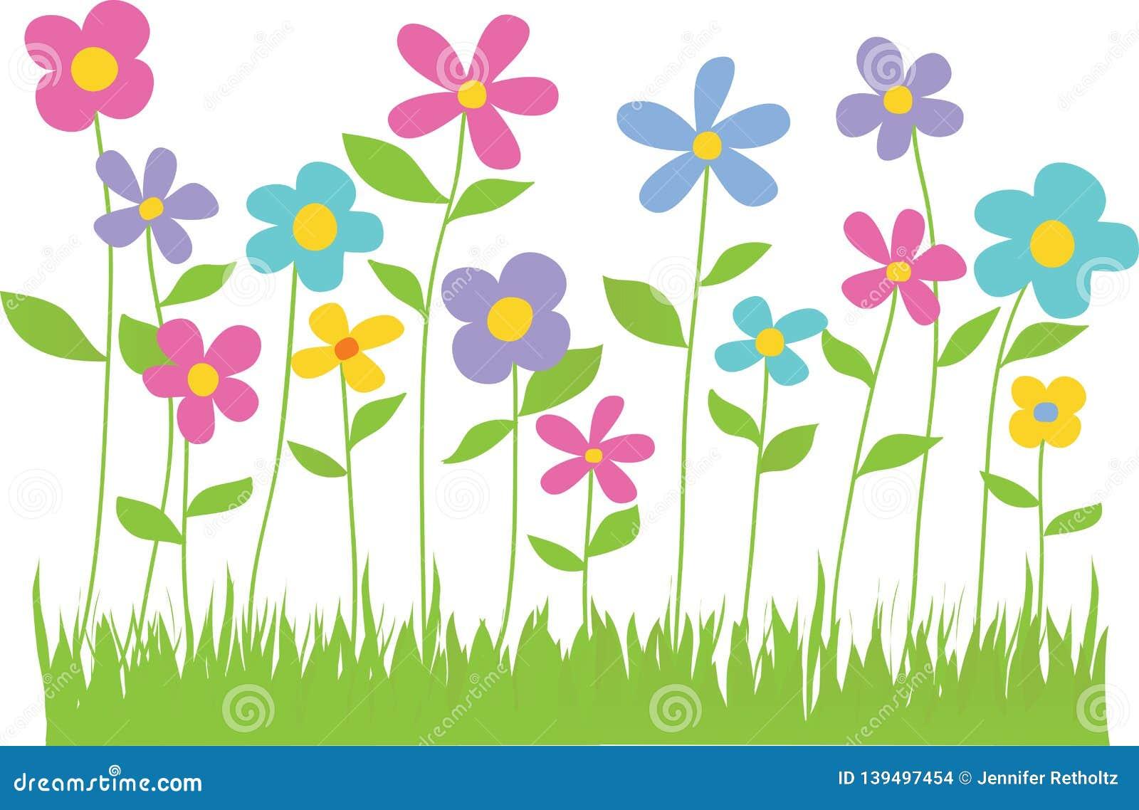 De lentebloemen met Grasgrens