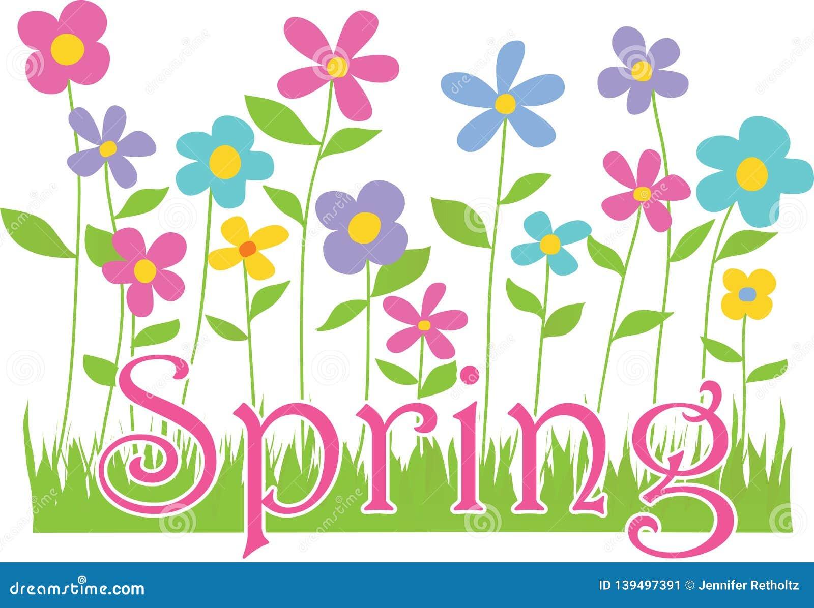 De lentebloemen met tekst