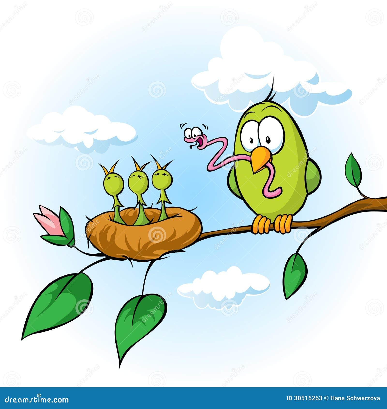 De lenteillustratie van vogel die hongerige kuikens voeden