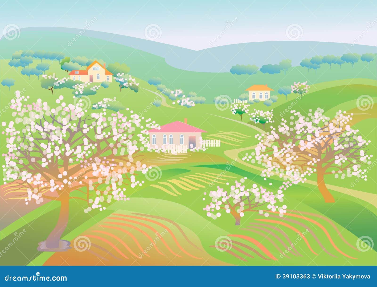 De lentelandschap met bloeiende bomen
