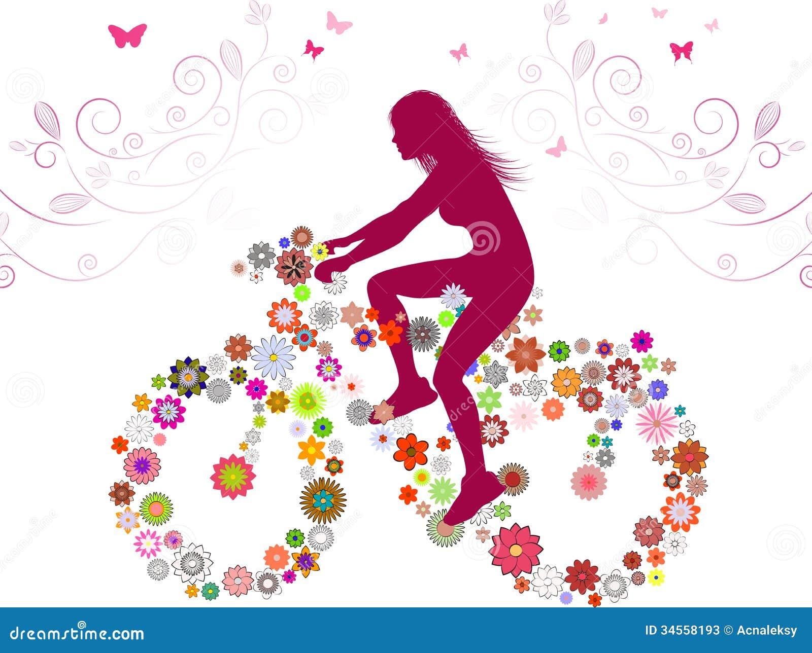 De lentemeisje op fiets