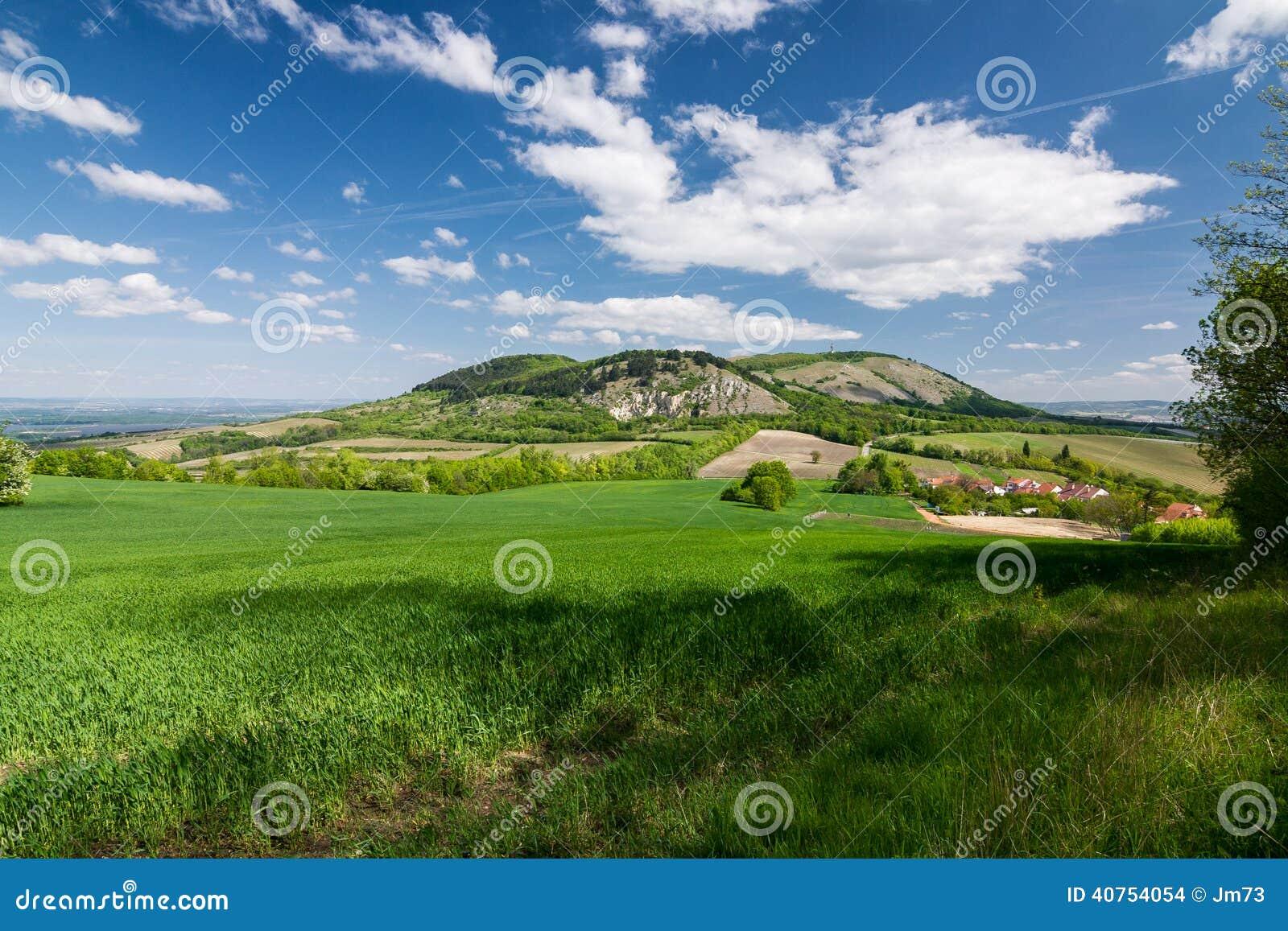 De lenteplatteland met blauwe hemel en wolken - Palava-heuvels, Czec