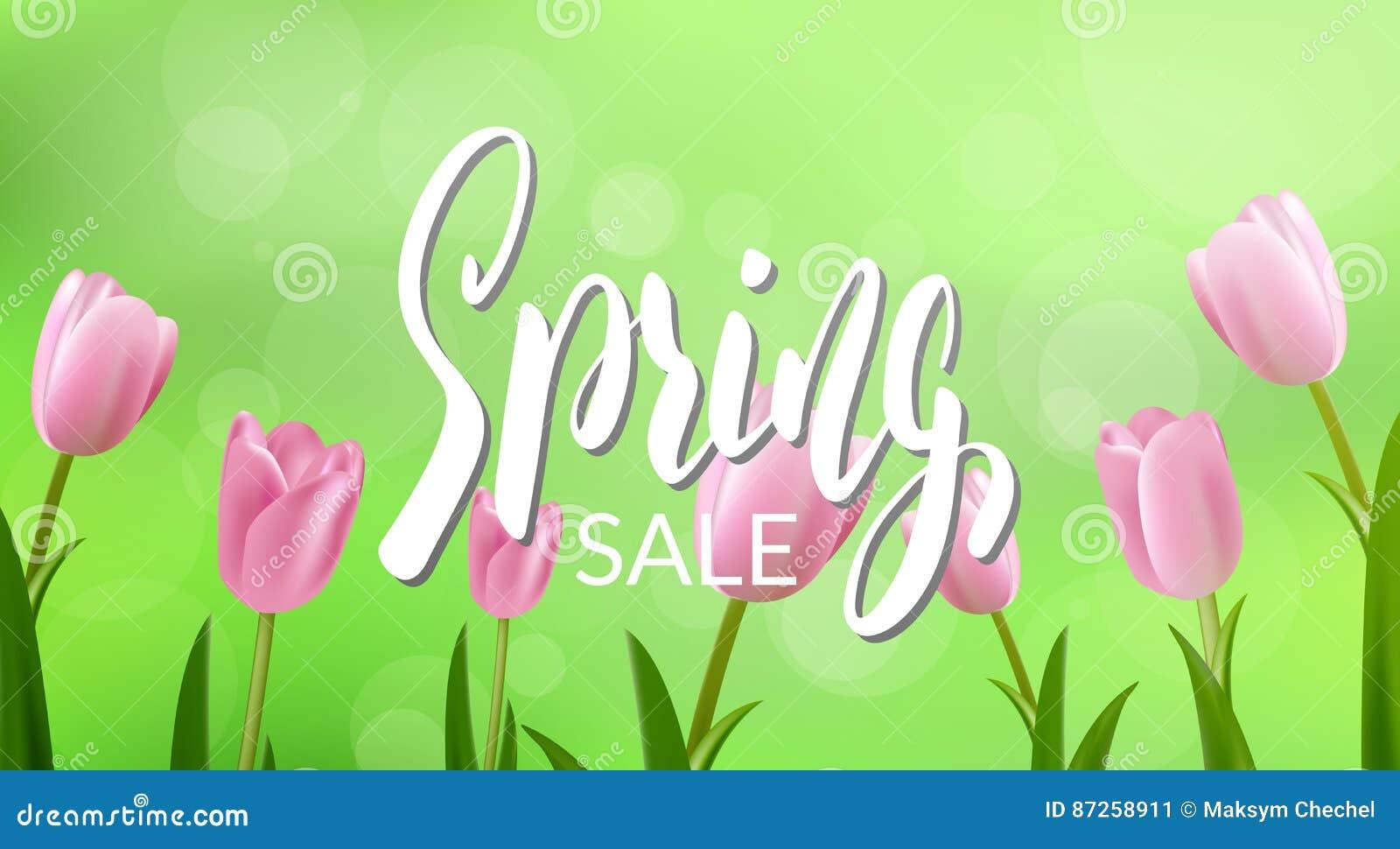 De lenteverkoop Banner met kalligrafie en bloemen voor seizoengebonden verkoop