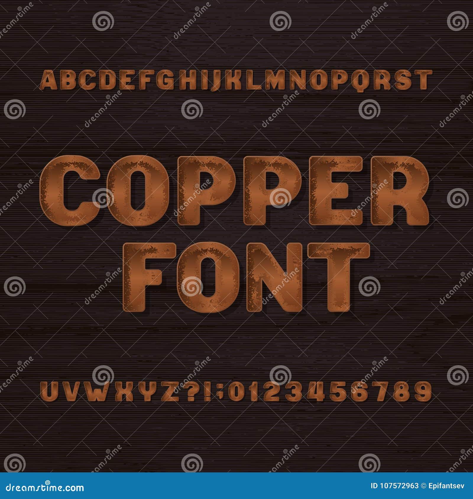 De lettersoort van het kopermetaal Retro alfabetdoopvont Metaalletters en getallen op een donkere ruwe achtergrond