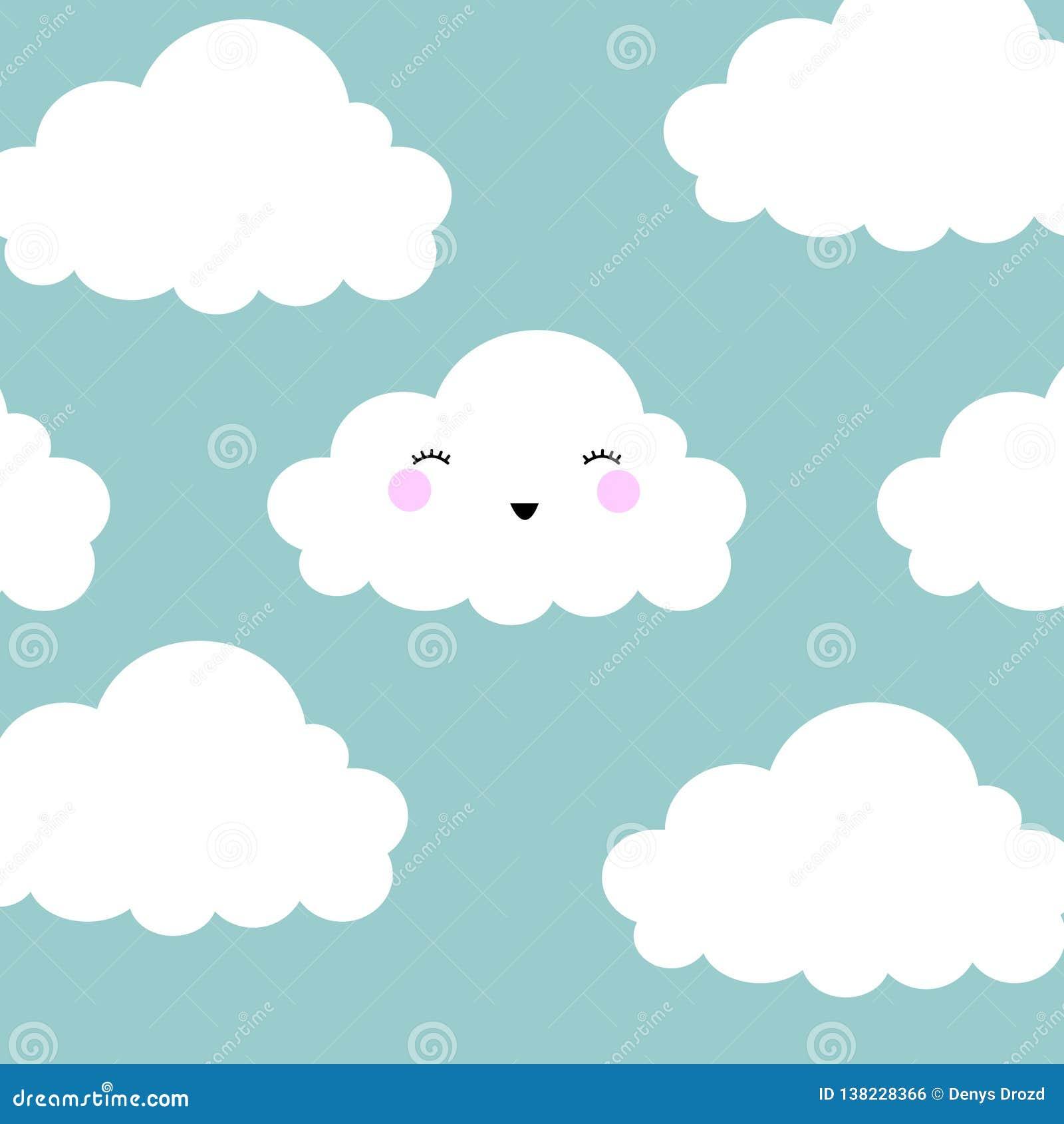 De leuke Achtergrond van het de Wolken Naadloze Patroon van het Beeldverhaalgezicht met Punt, Vectorillustratie
