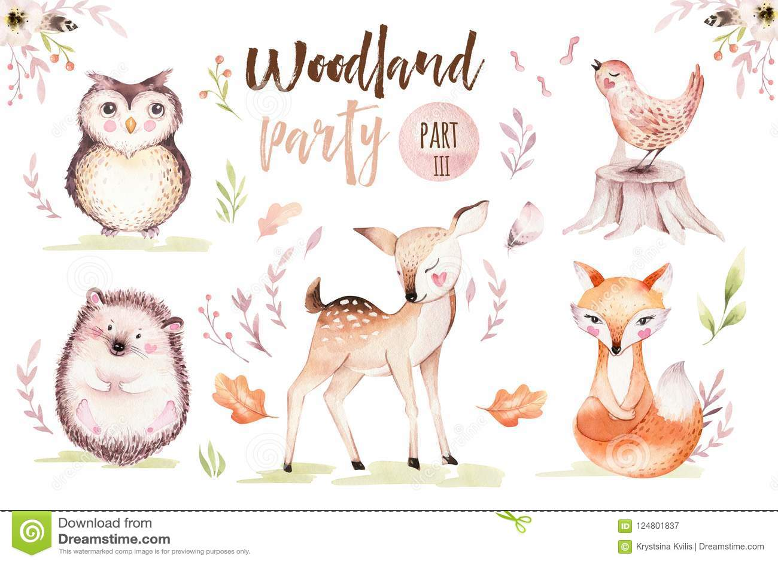 De leuke babyvos, vogel van het herten de dierlijke kinderdagverblijf en draagt geïsoleerde illustratie voor kinderen De bosteken