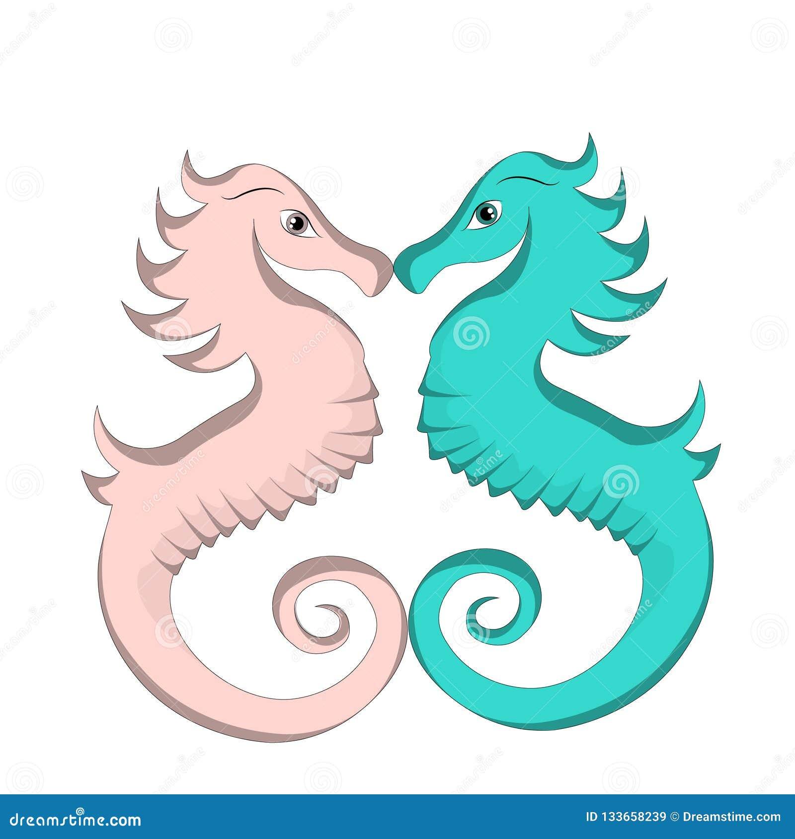 De leuke blauwe en roze liefde van het seahorsebeeldverhaal