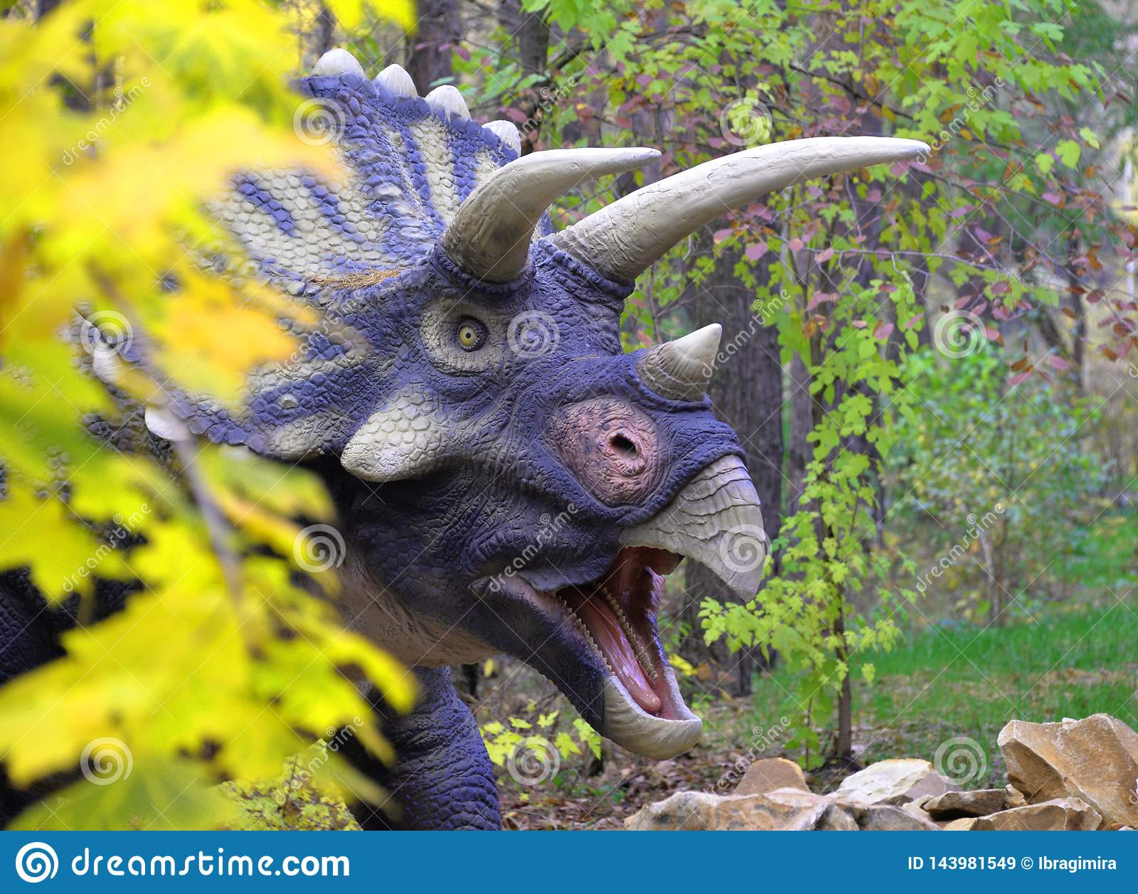 De leuke dinosaurus Triceratops kijkt uit van achter een struik in een groene weide