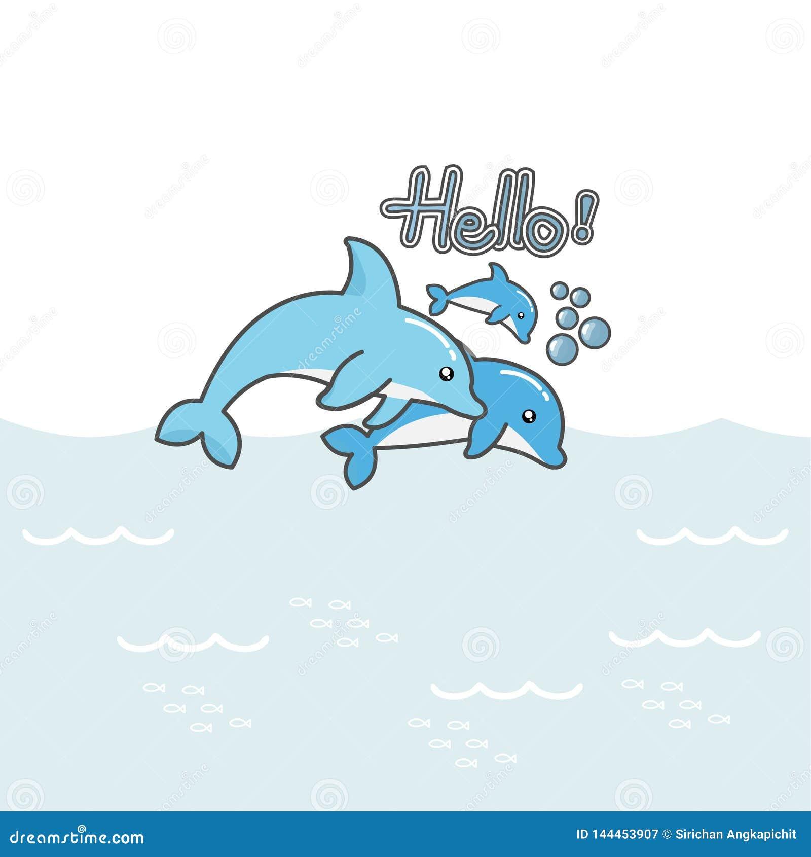 De leuke dolfijnen zeggen Hello!