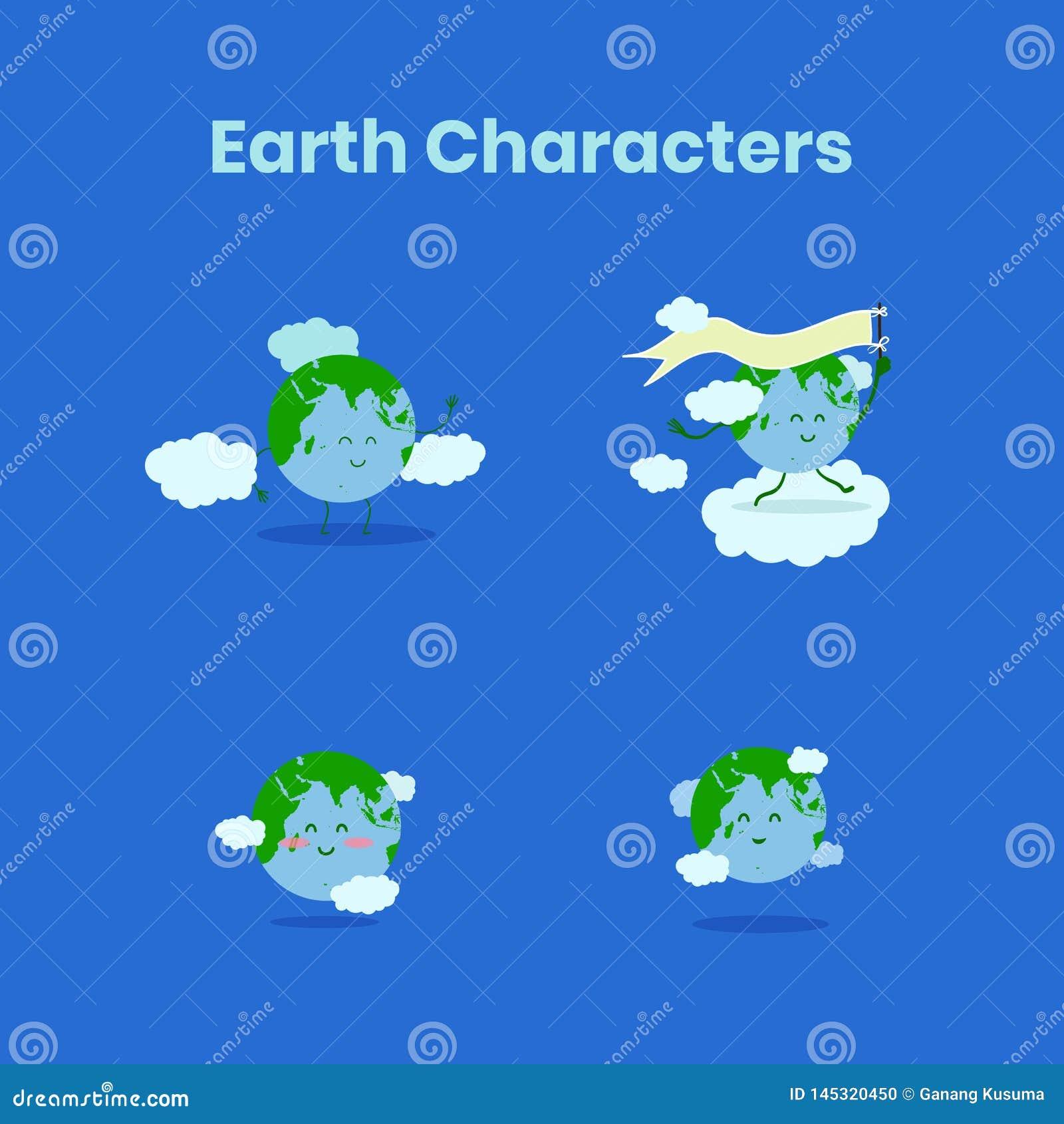 De leuke en grappige inzameling van het aardekarakter voor aardedag